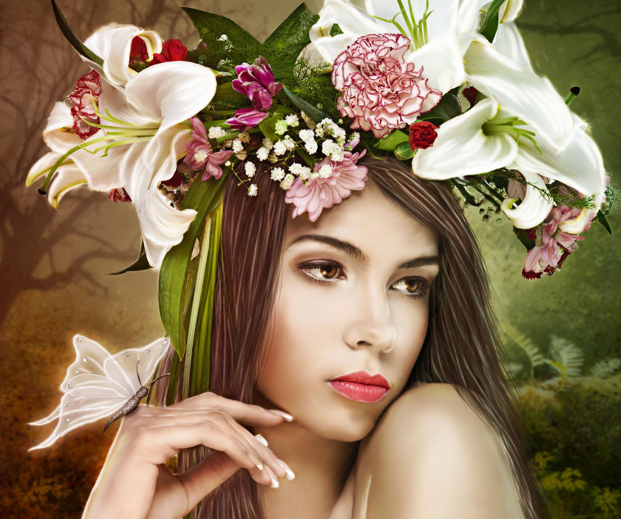 Портрет девушка с цветами