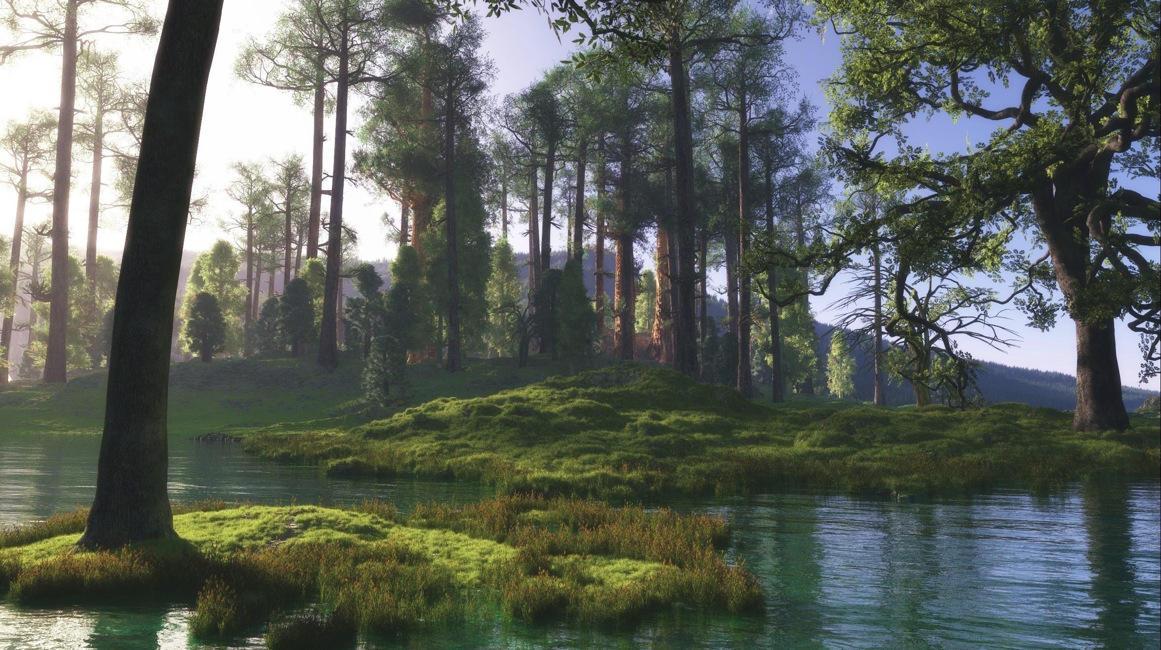природа вода река трава деревья мох  № 3800971 бесплатно