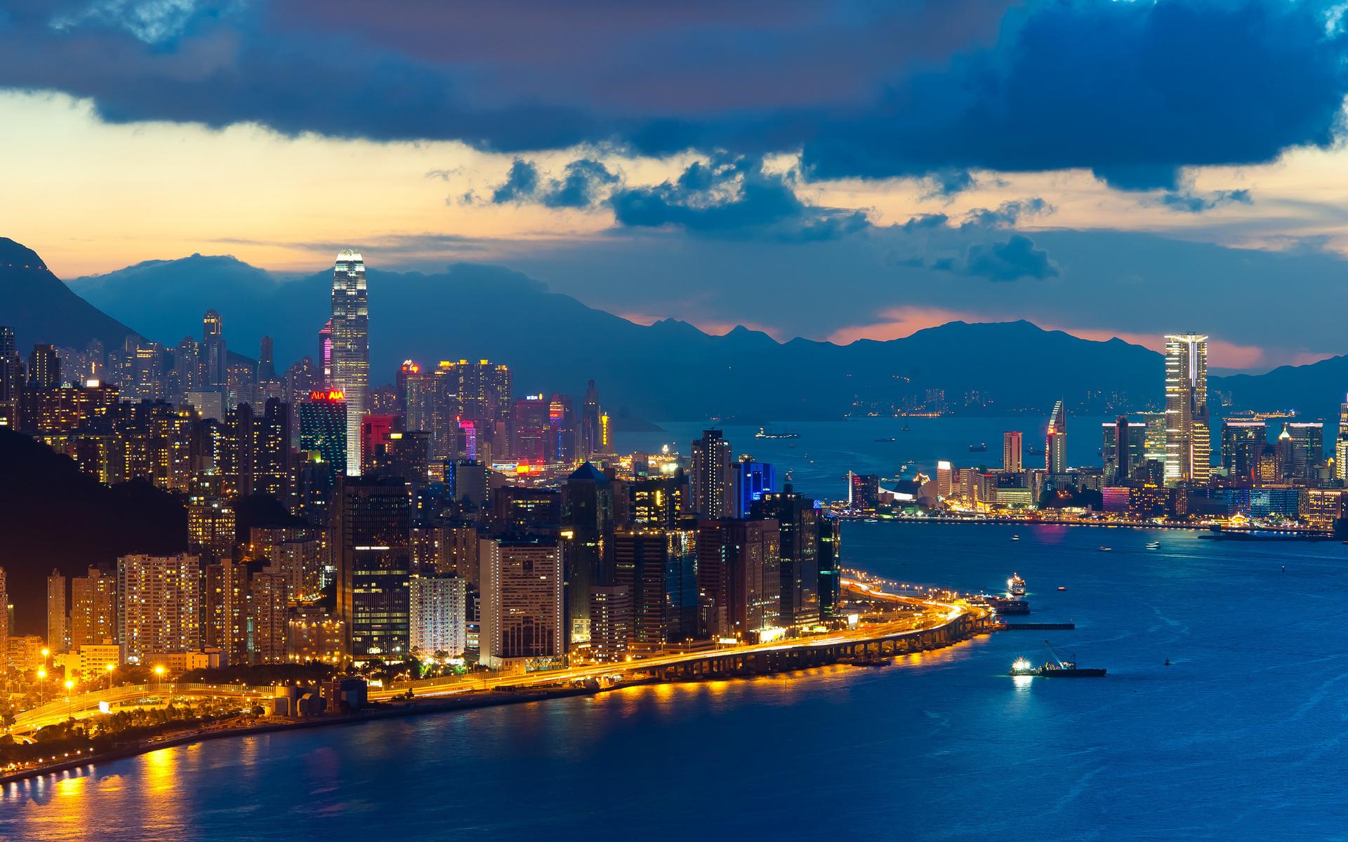 страны архитектура ночь Гонконг  № 1481723  скачать