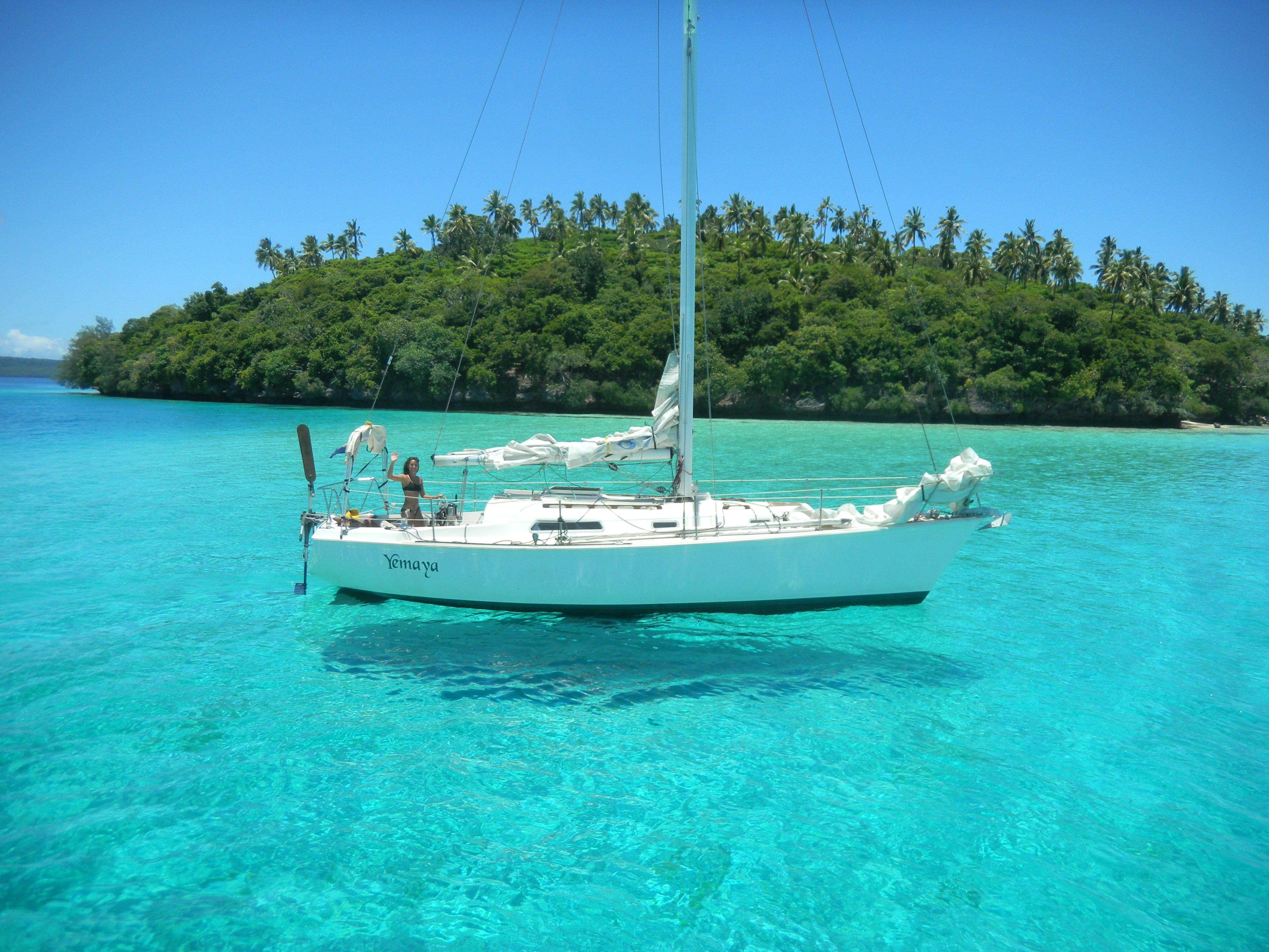 яхта парус море остров  № 3944432 бесплатно