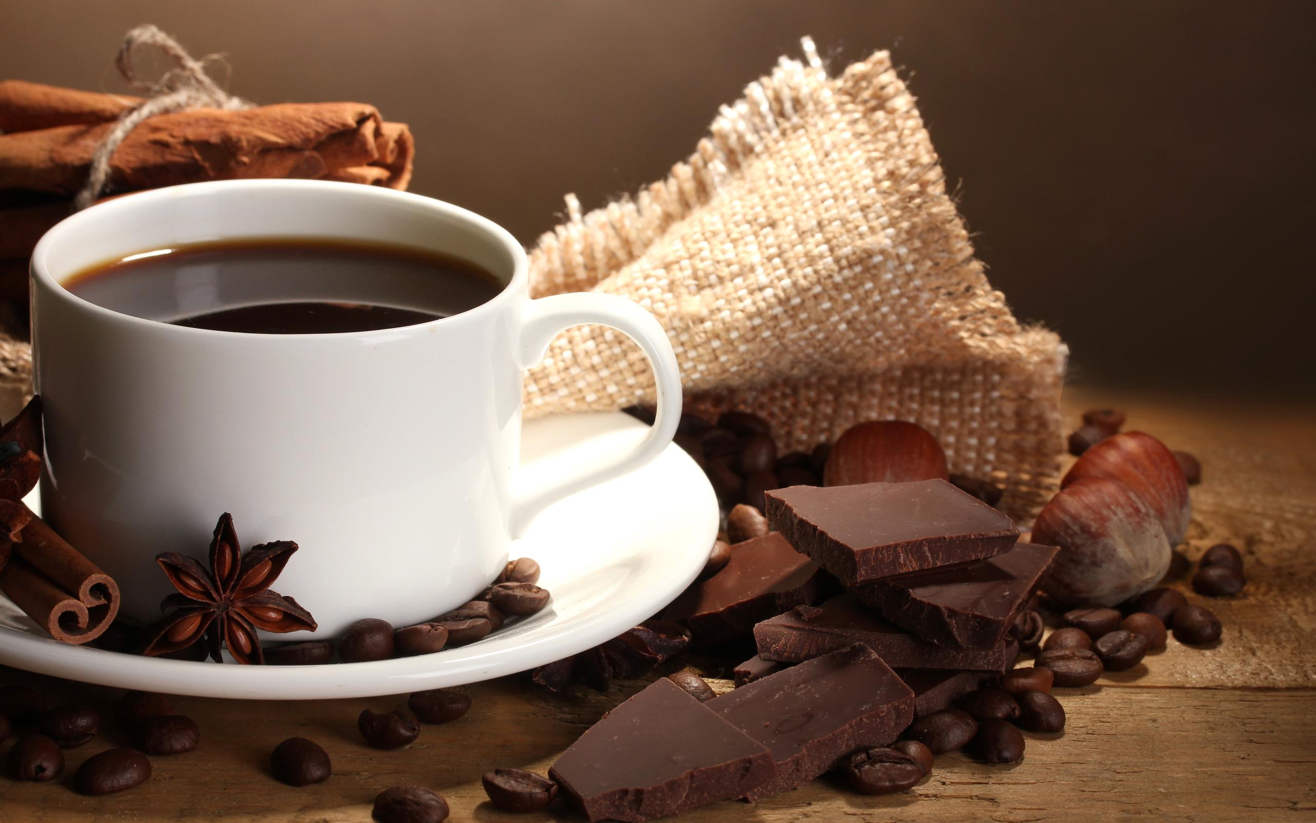 обои на рабочий стол чашка кофе и шоколад № 246711 бесплатно