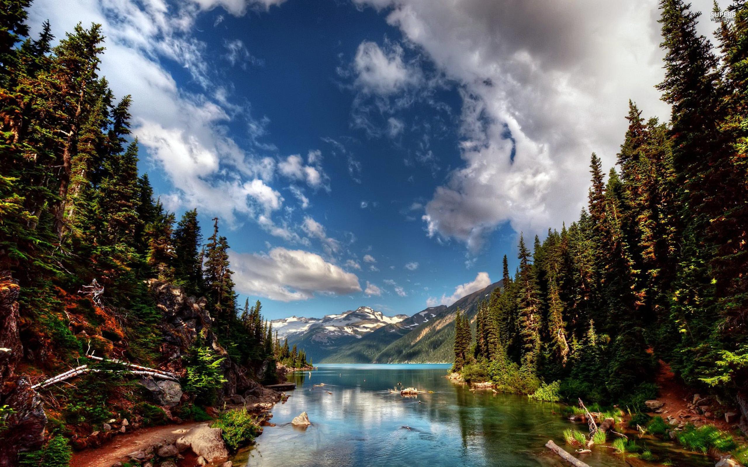 природа горы небо облака река деревья nature mountains the sky clouds river trees  № 1223834 бесплатно
