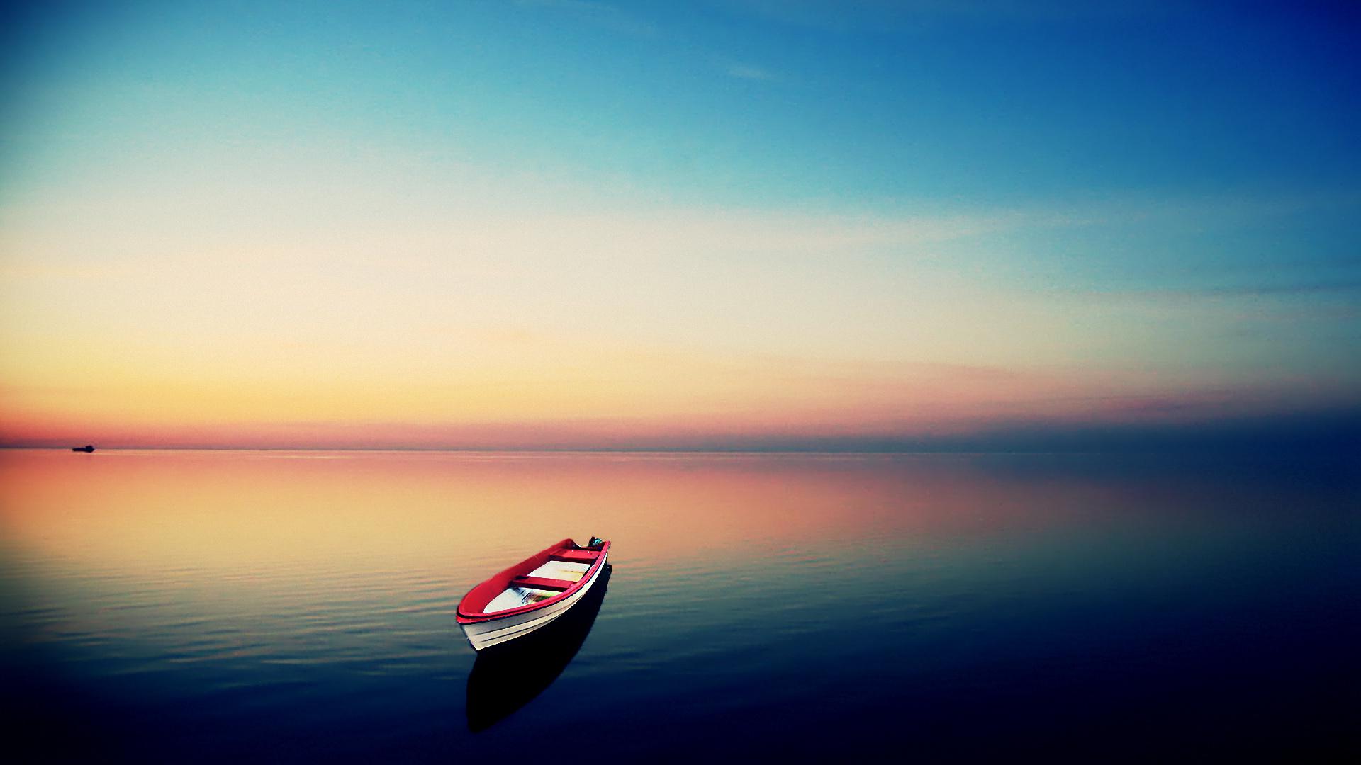 лодка вечер закат озеро на телефон