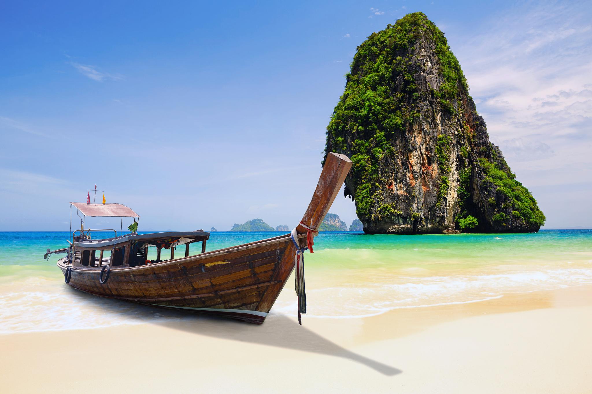 природа деревья река лодки Тайланд страны скачать