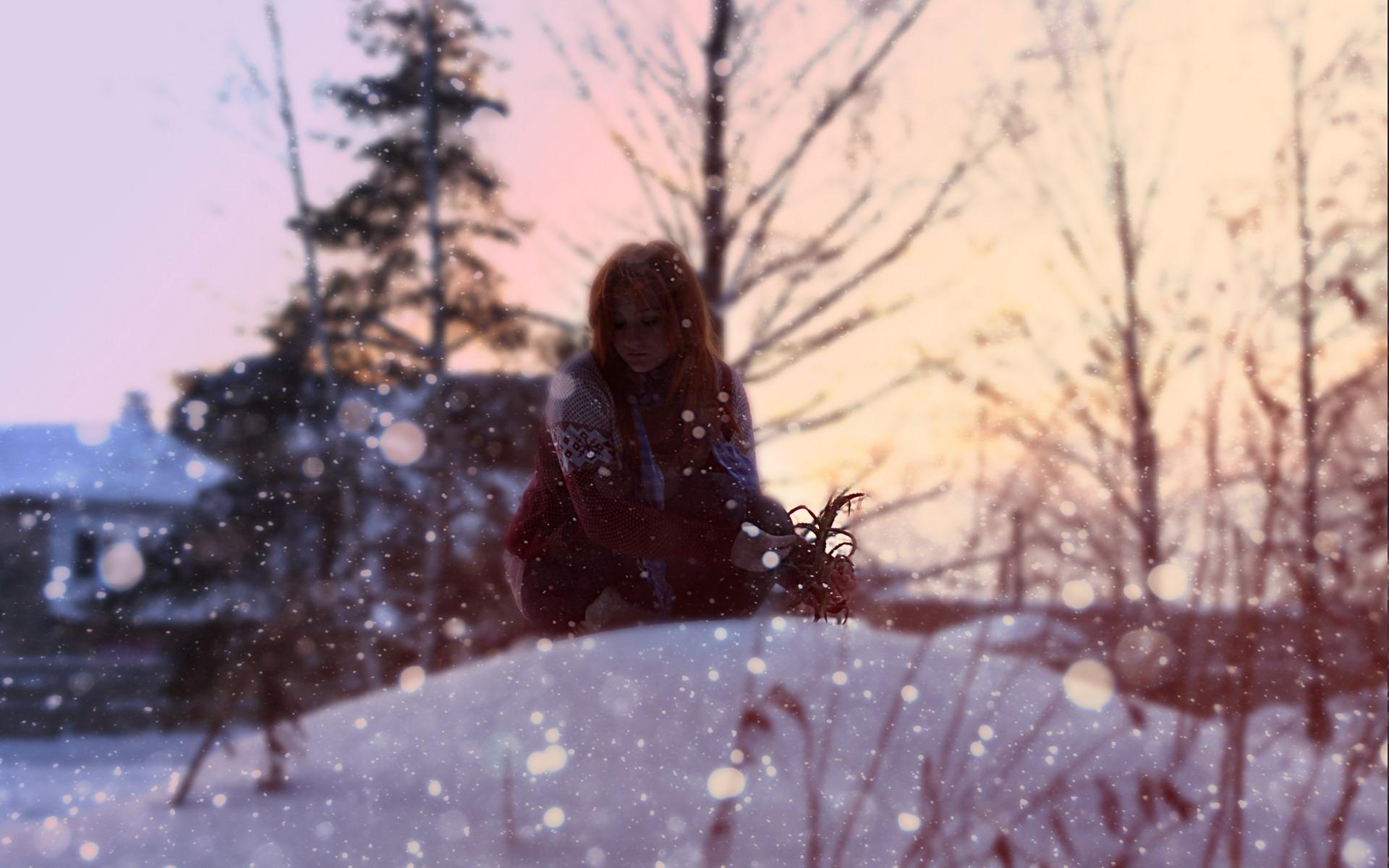 девушка снег пальто без смс