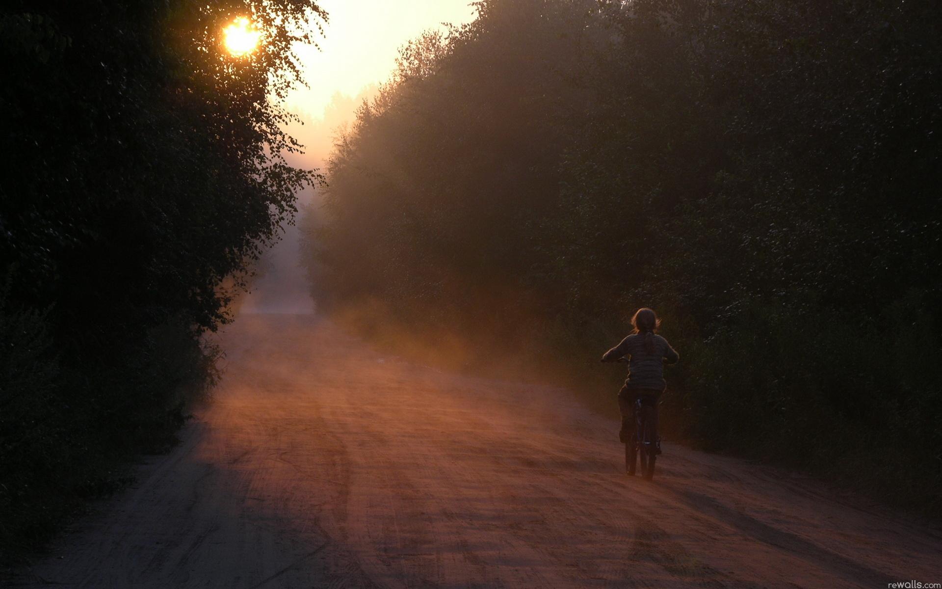 закат, девушка, лесная дорога бесплатно