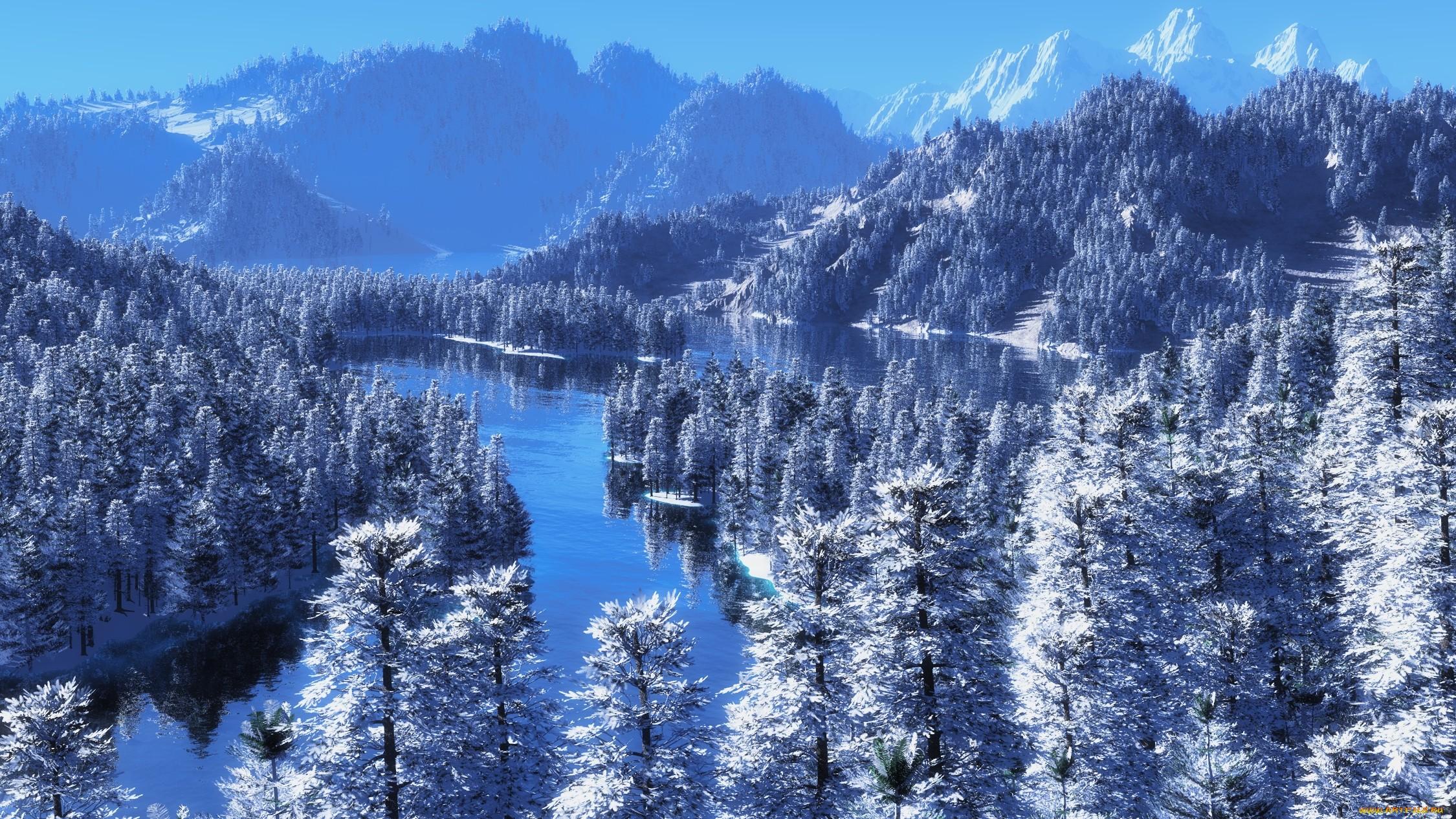 природа снег зима деревья горы  № 2577163 загрузить