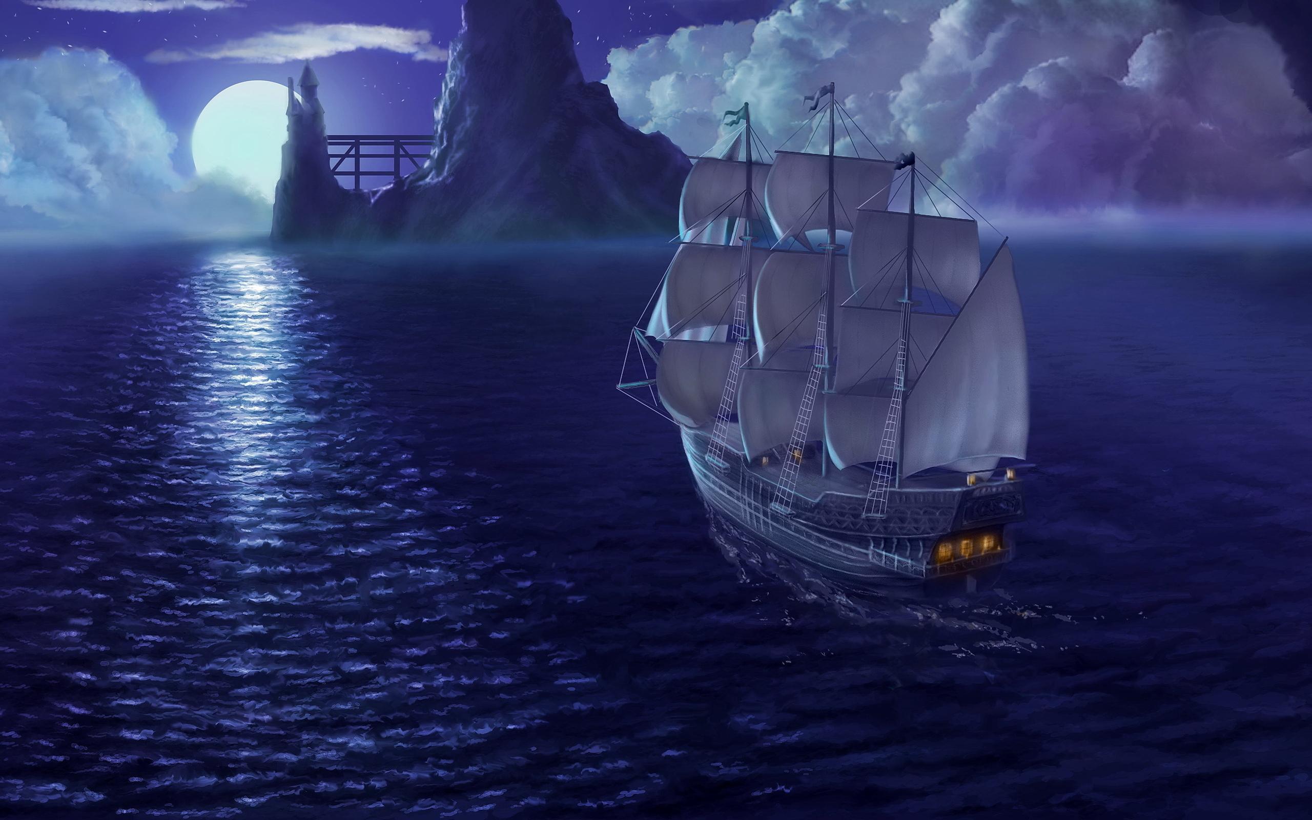 ночь яхта корабль  № 3498269 загрузить