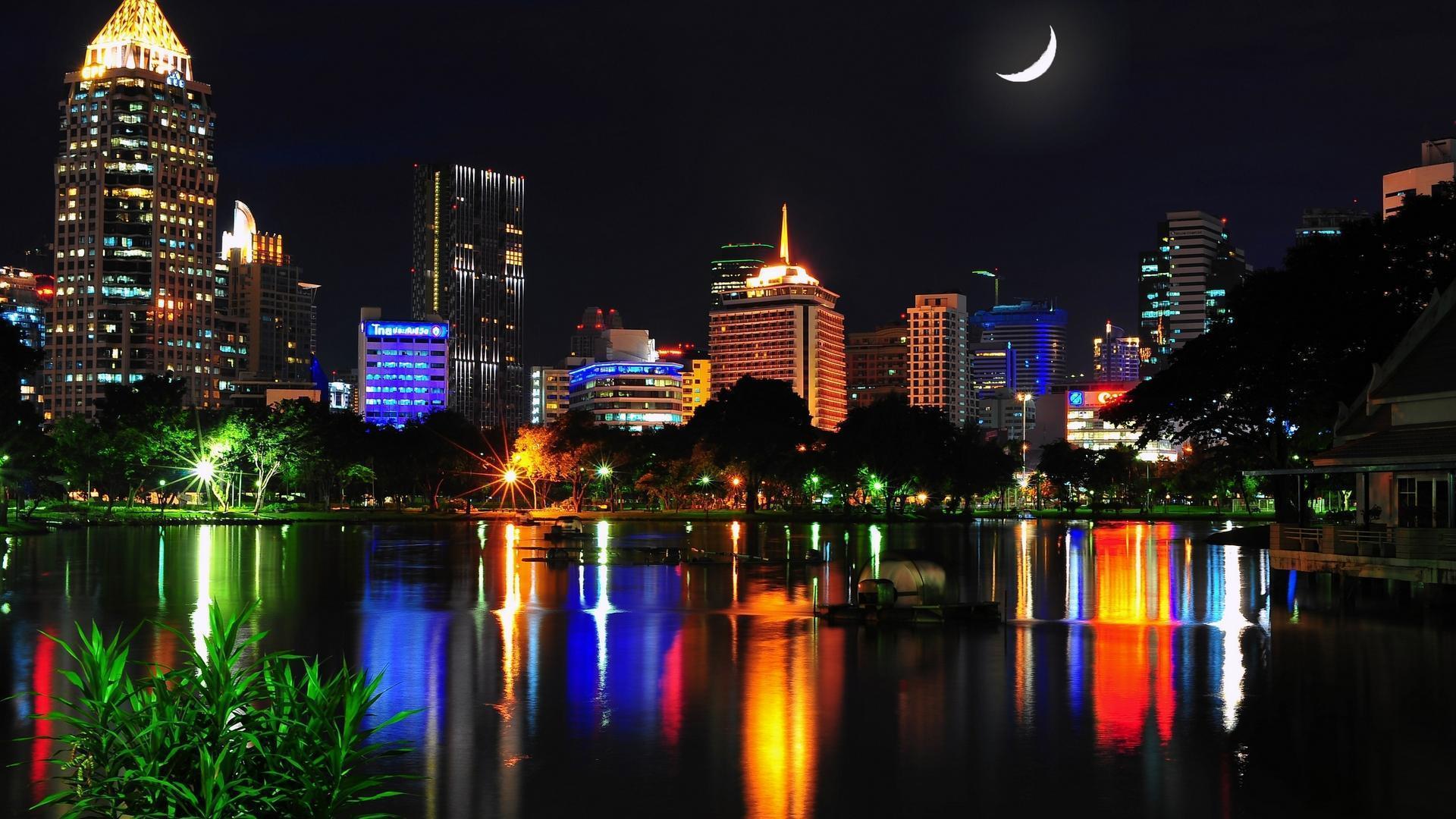 город ночь освещение отражение смотреть