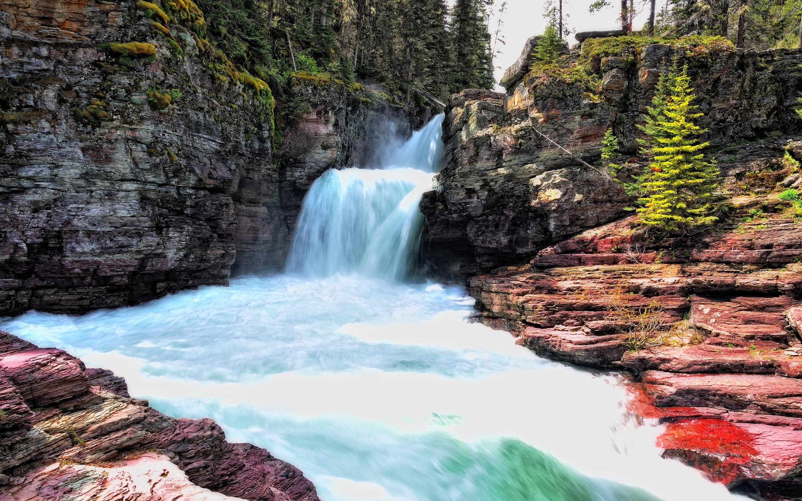 природа скалы водопады река деревья бесплатно