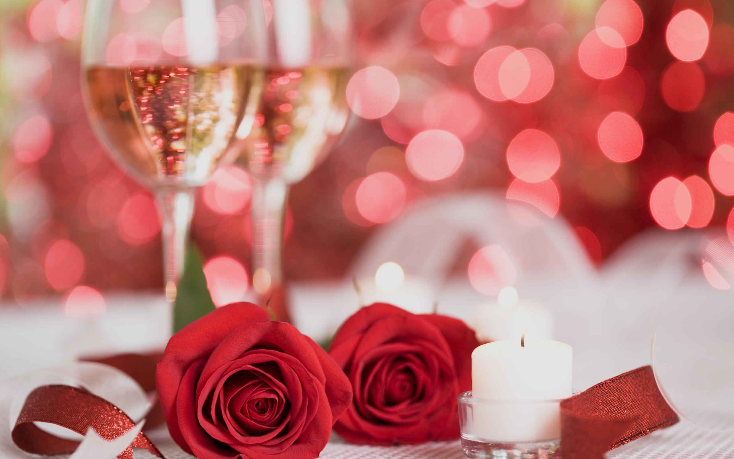 Два бокала с розами  № 750277 без смс