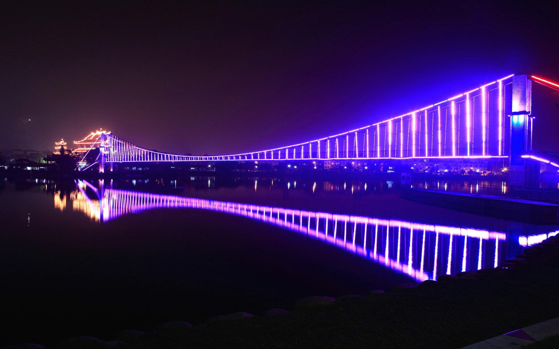 мост огни свечение ночь  № 3369471 загрузить