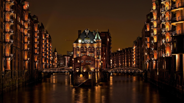 Обои ночной город, германия, каналы, гамбург, speicherstadt, здания, Hamburg, шпайхерштадт, мосты, Germany. Города foto 16
