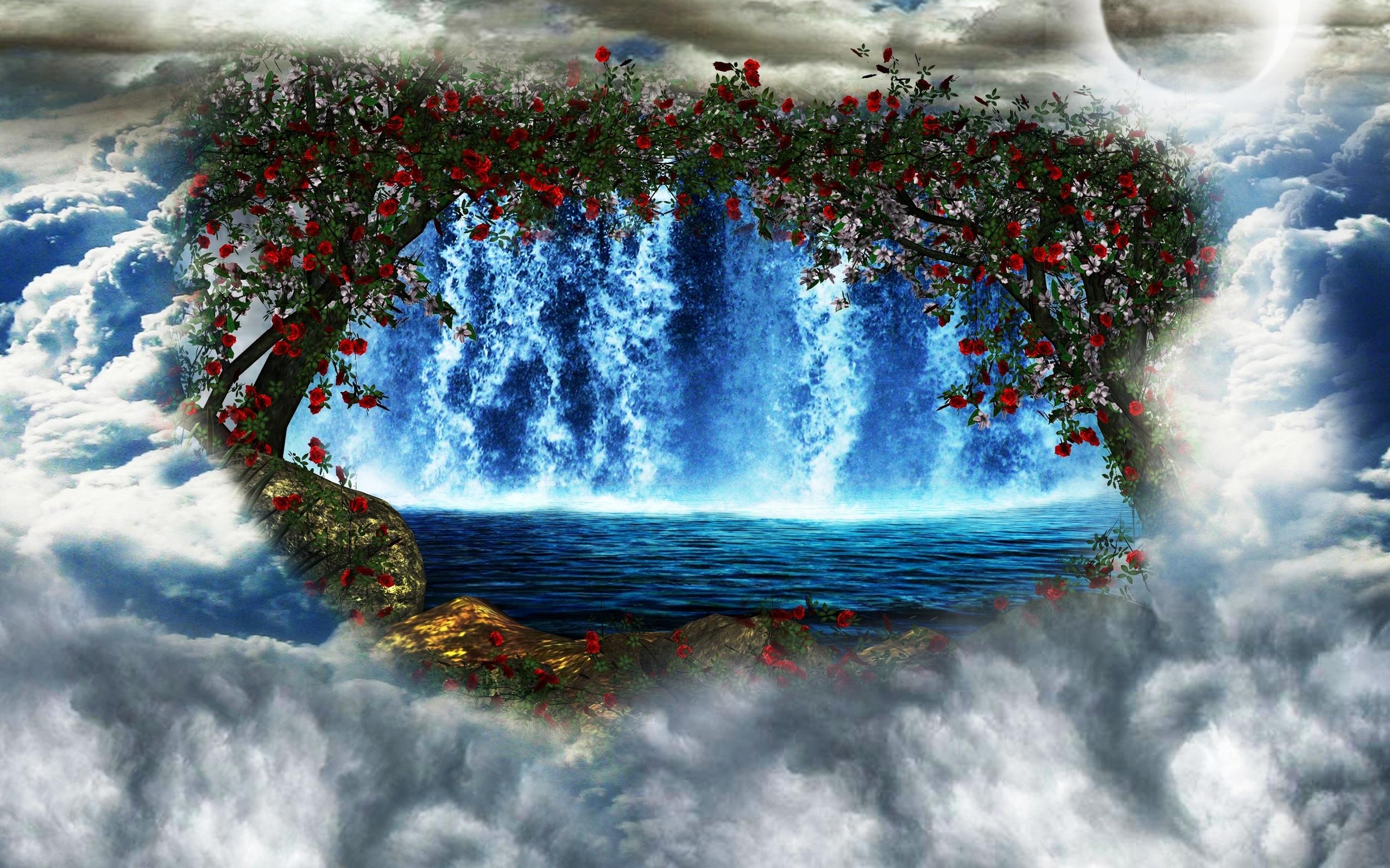 природа река деревья водопад небо облака бесплатно