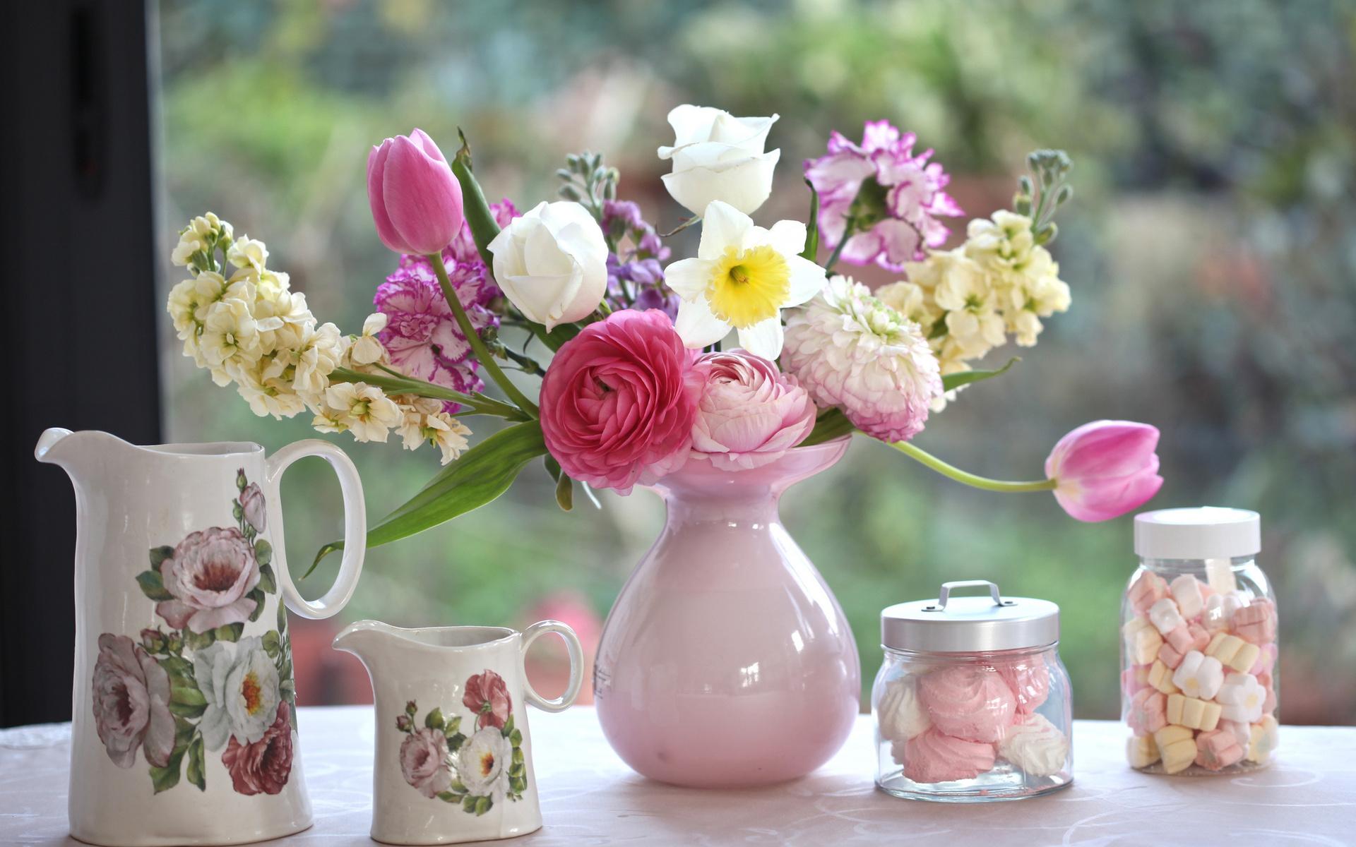 тюльпаны ваза море  № 1012820 без смс