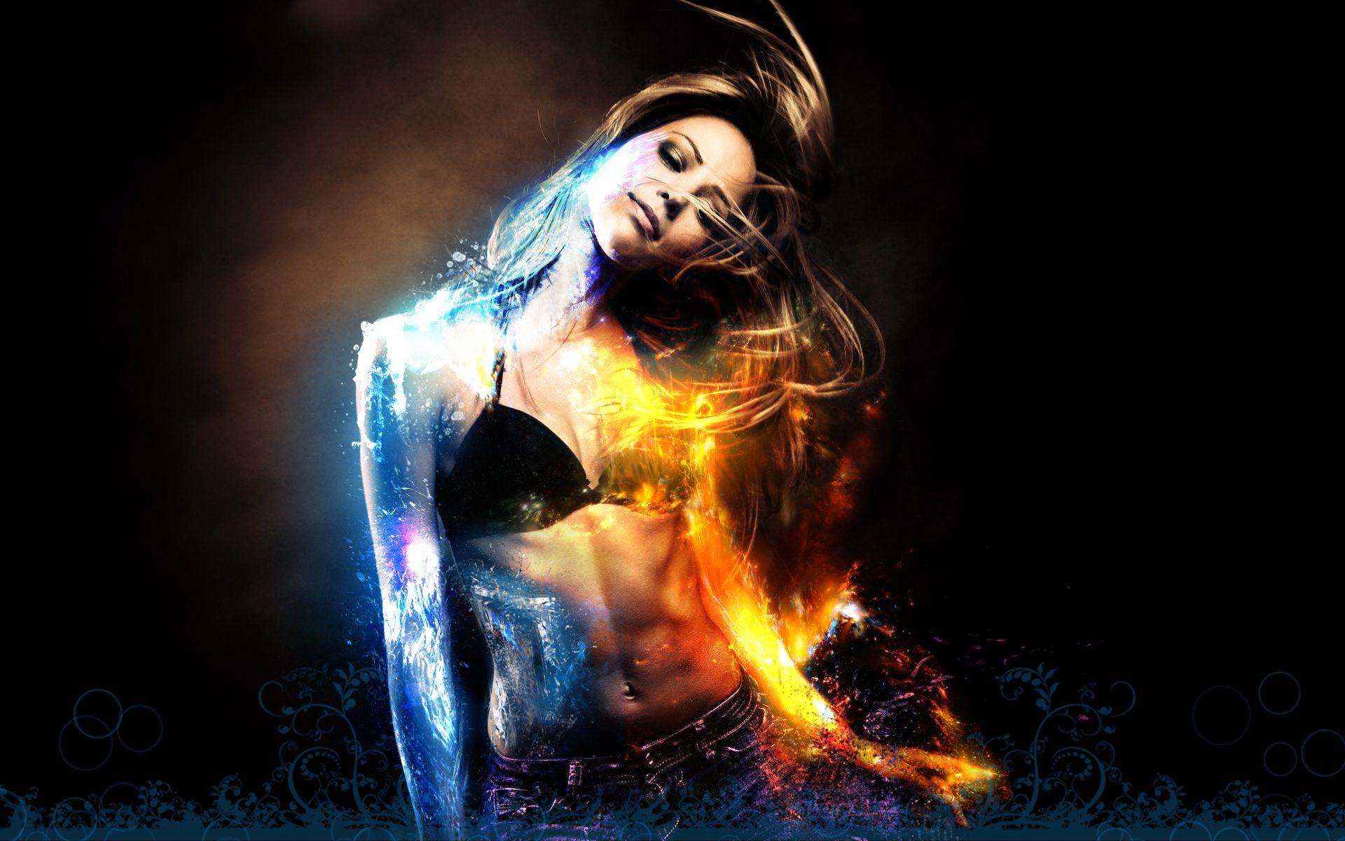 Девушка с горящей шкатулкой бесплатно
