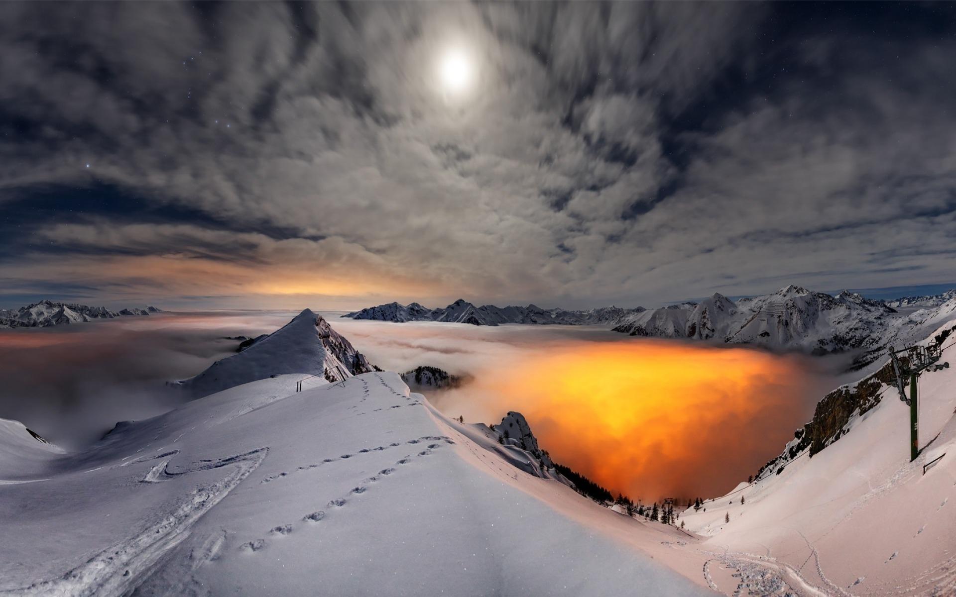 природа солнце горы скалы снег вечер бесплатно
