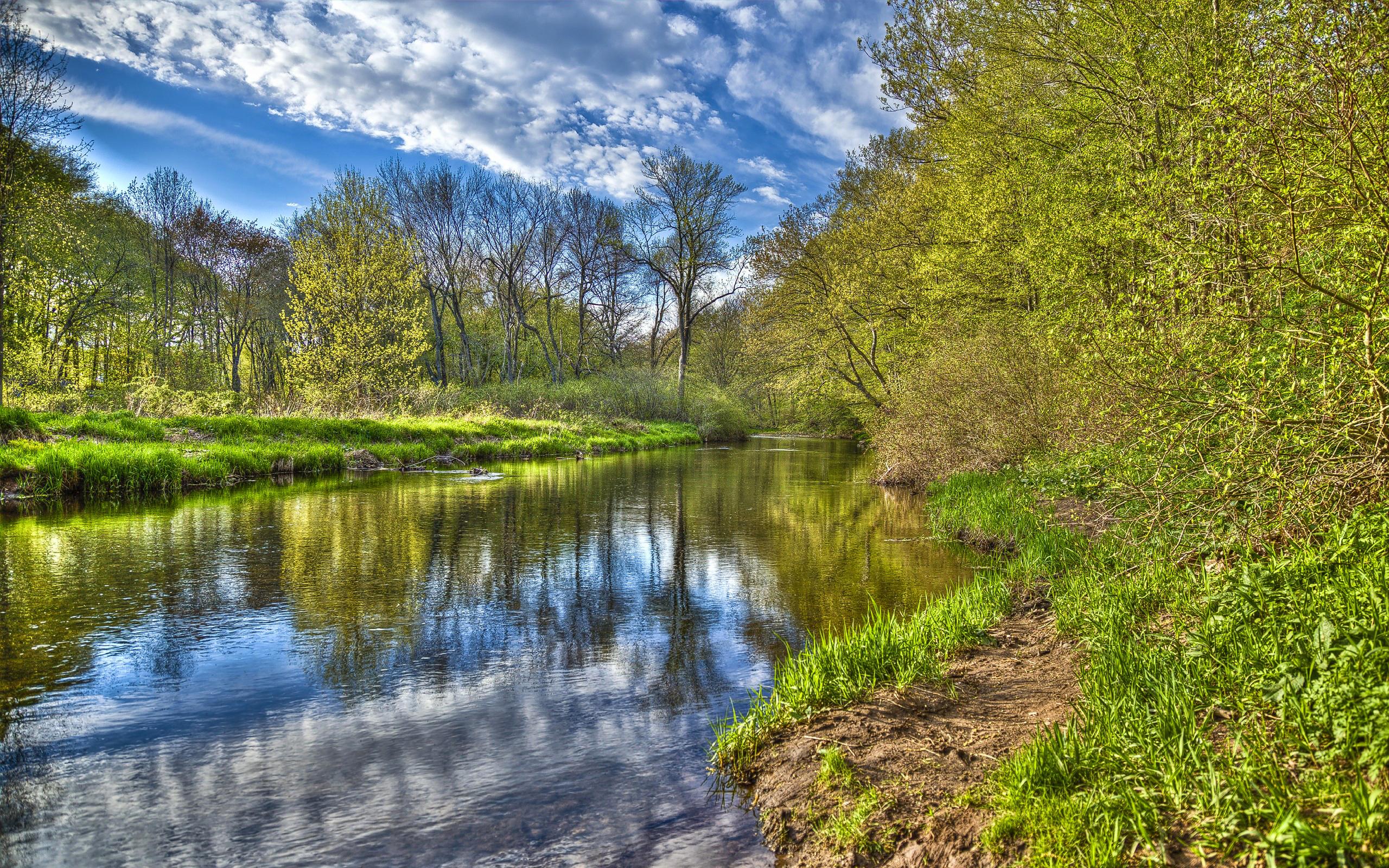 природа река деревья облака небо  № 316524 без смс