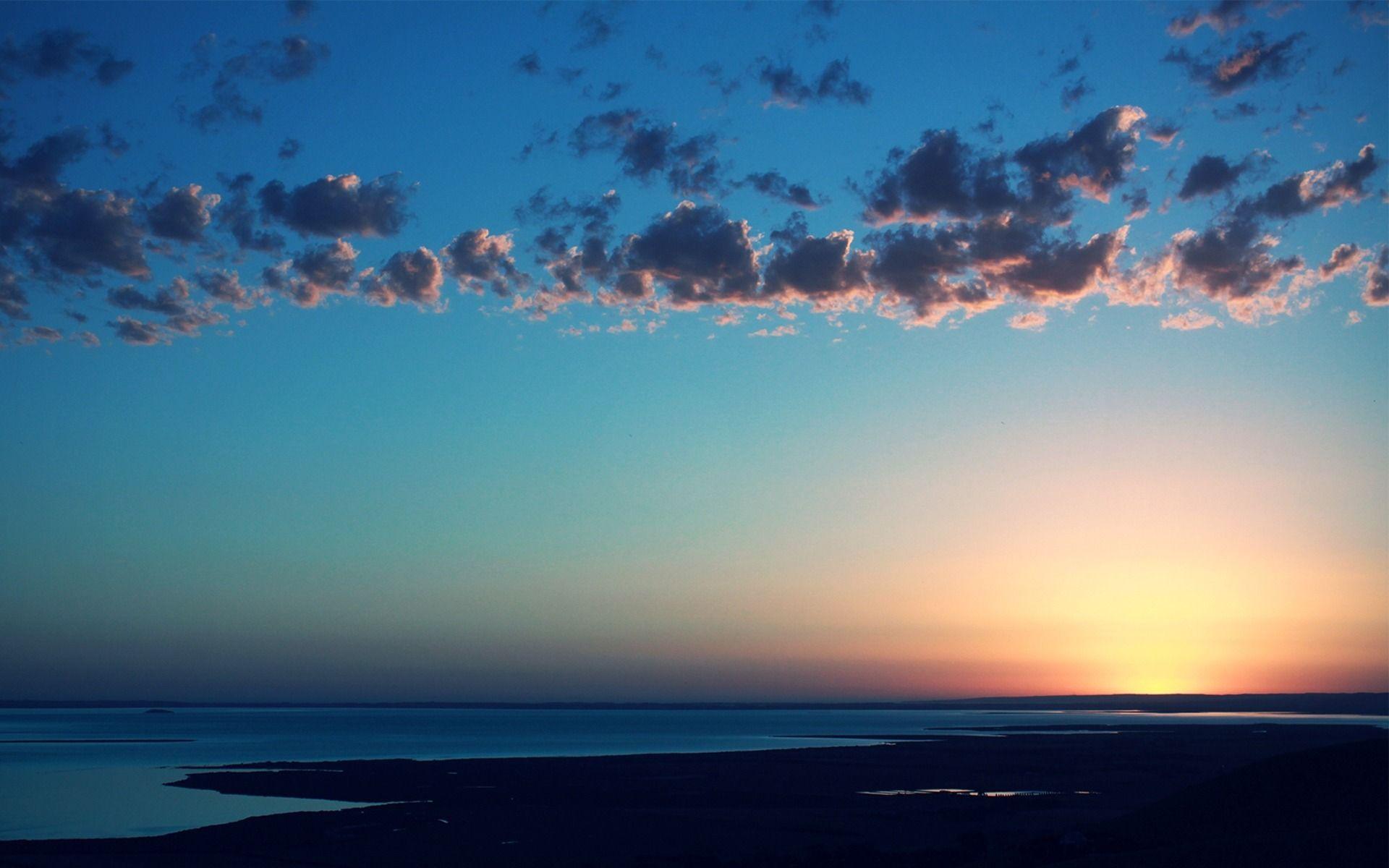 природа море солнце горизонт небо облака  № 717655 загрузить