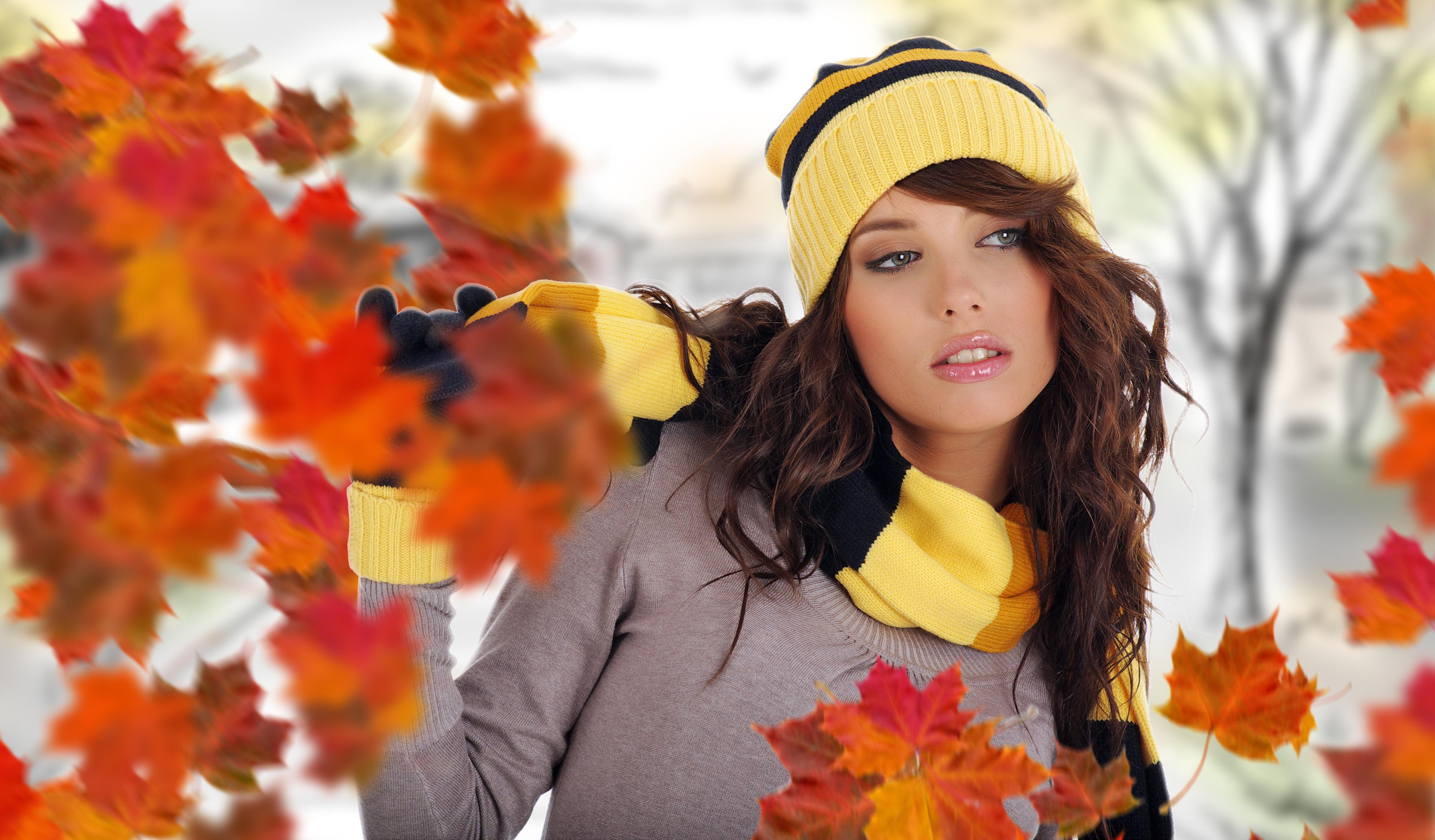 девушка листва осень лес кофта загрузить