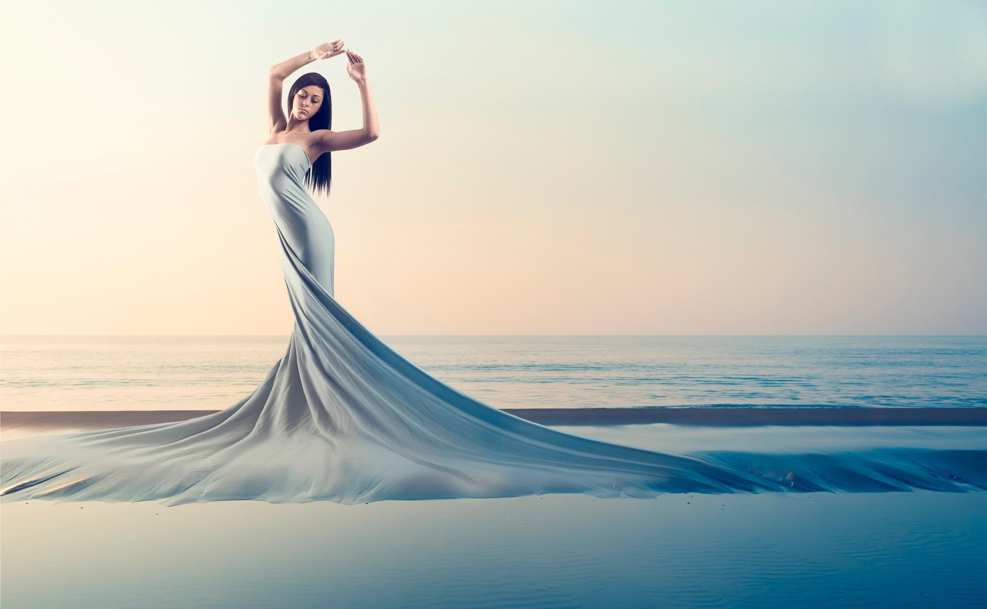 девушка море белое платье брюнетка загрузить