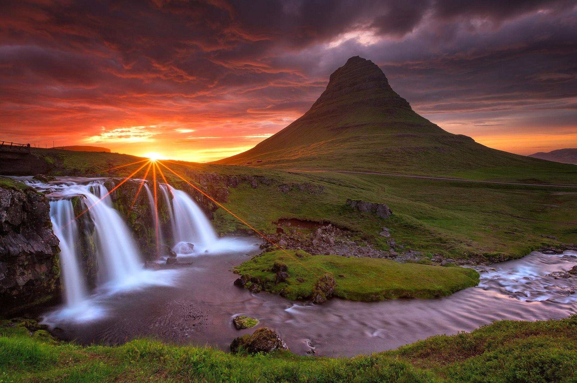 природа река деревья водопад небо облака без смс