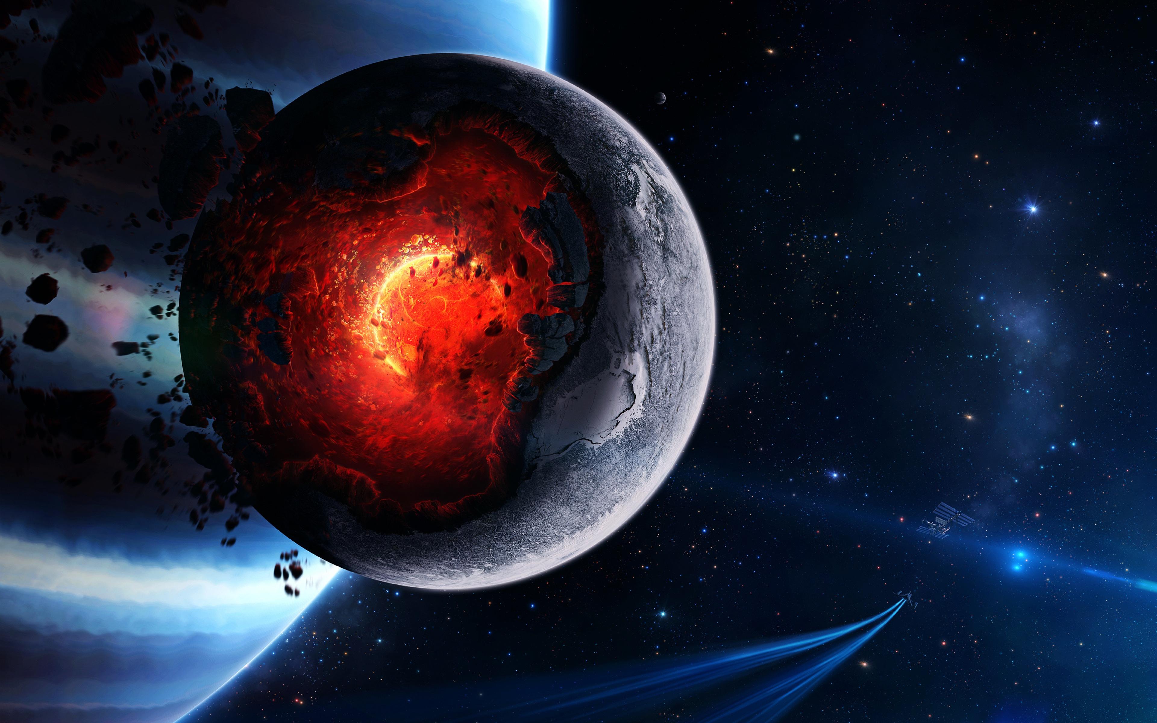 Обои огненная планета картинки на рабочий стол на тему Космос - скачать  № 433862 без смс