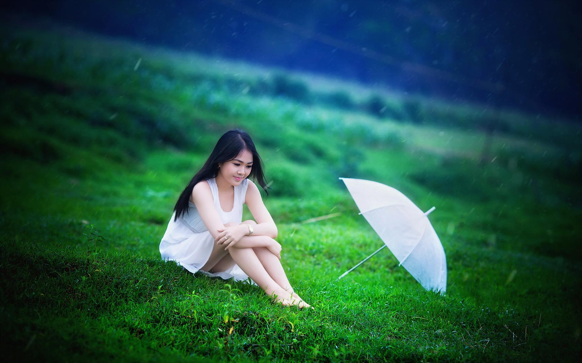 девушка зонт дождь природа  № 3582451 загрузить