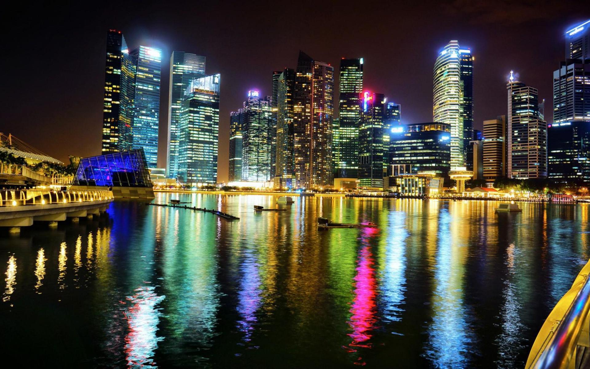 небоскребы город вода огни ночь  № 3981323 загрузить