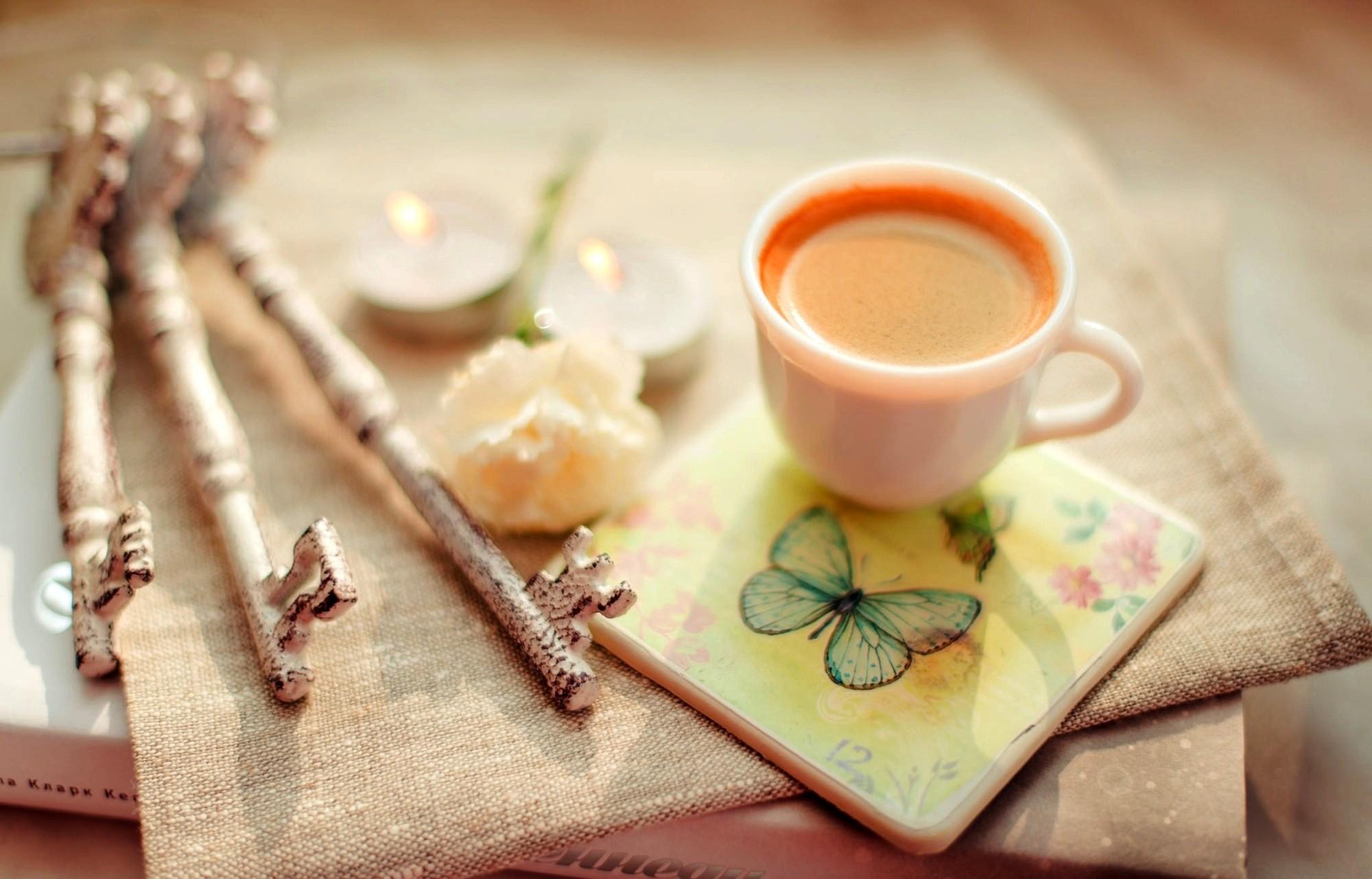 Чашка кофе с бабочкой бесплатно
