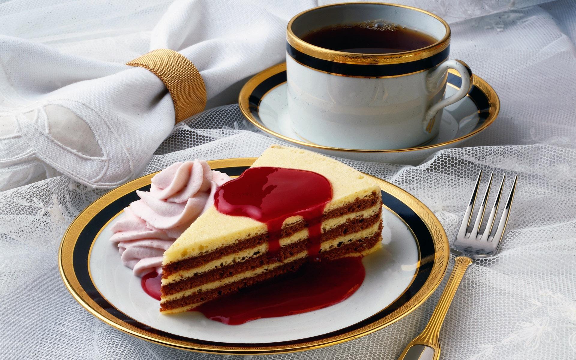 Открытки торт с чаем