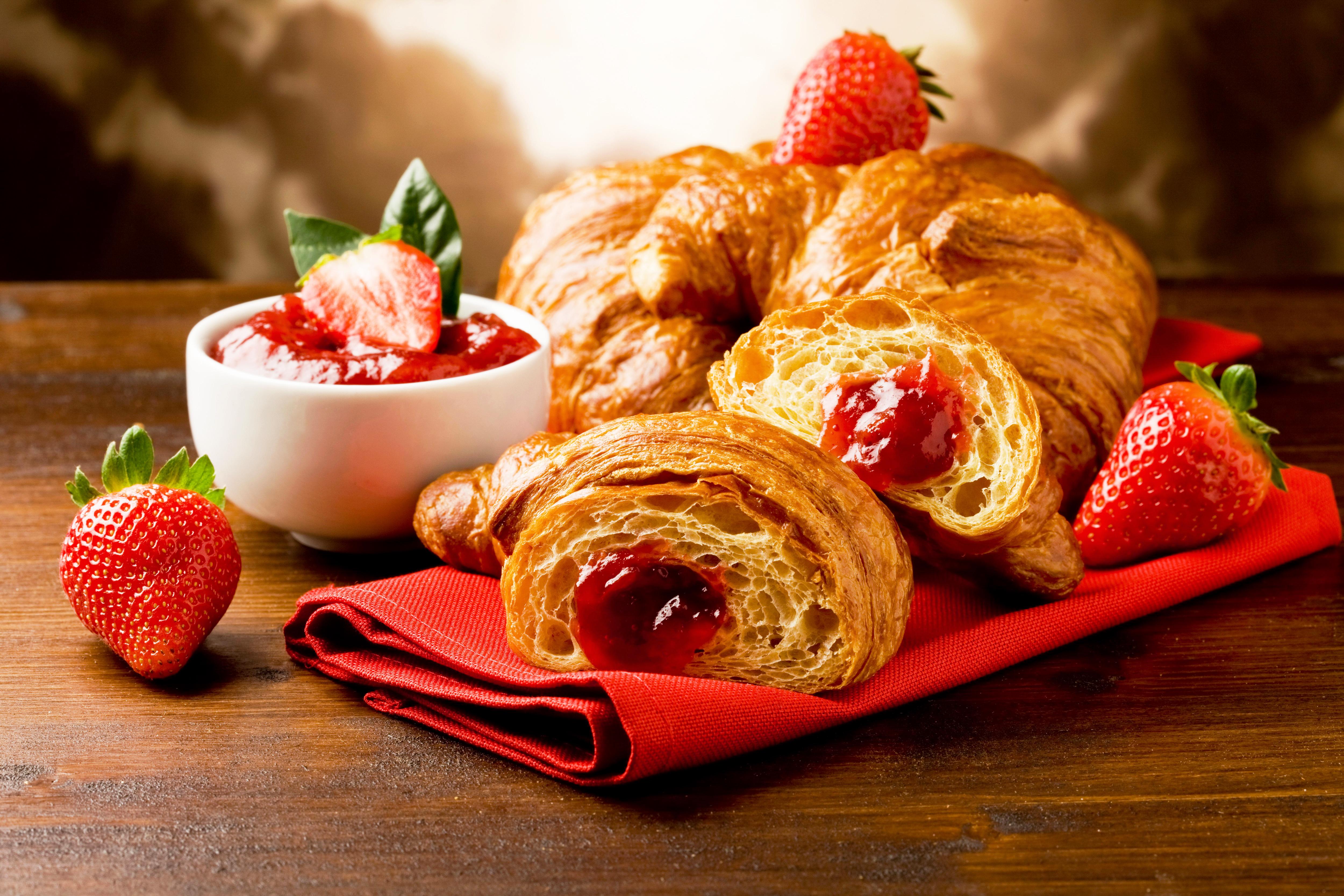 еда круасаны кофе повидло варенье food croissants coffee jam скачать