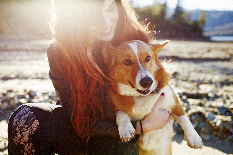 девушка со щенком скачать