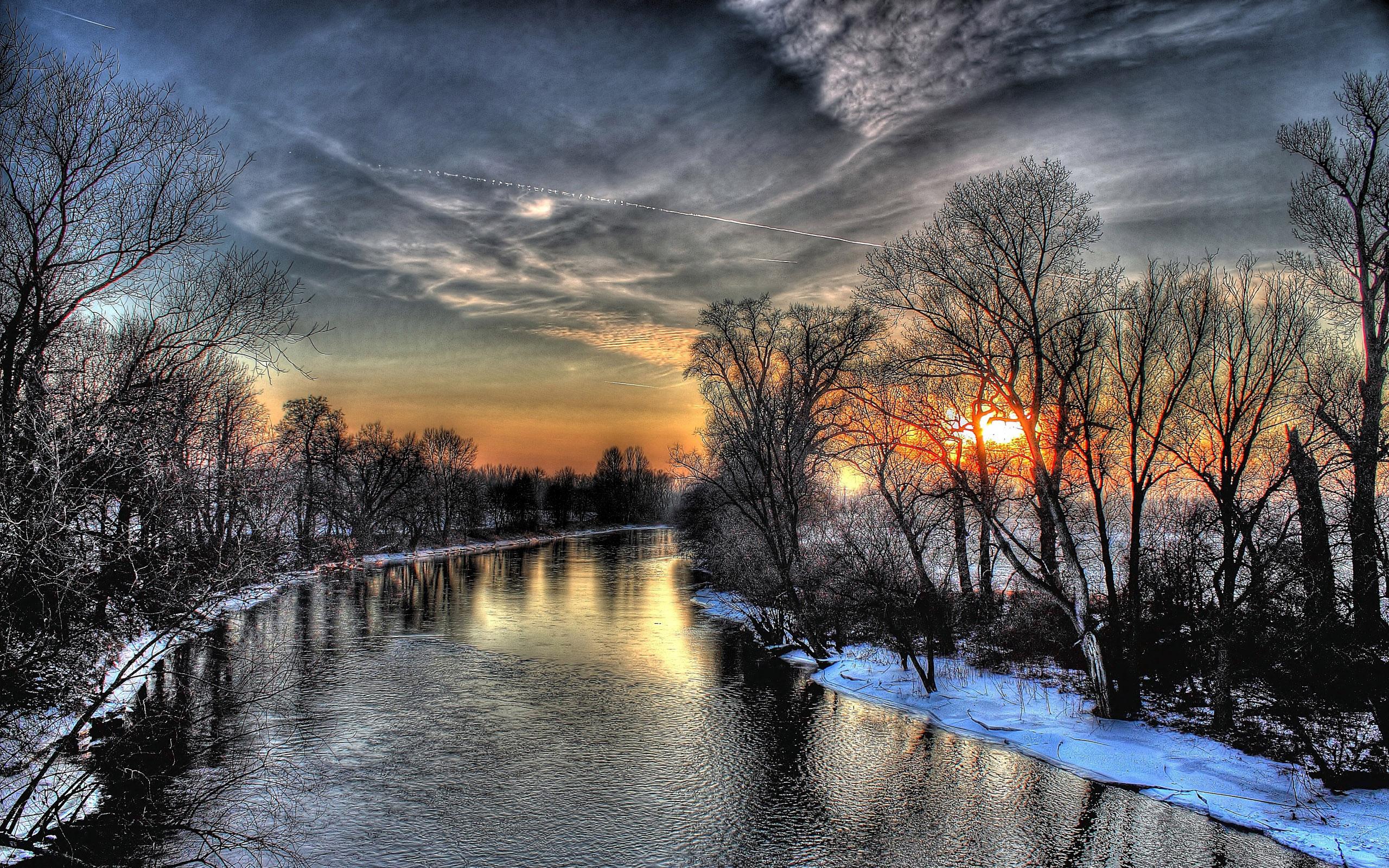 речка зима закат снег скачать