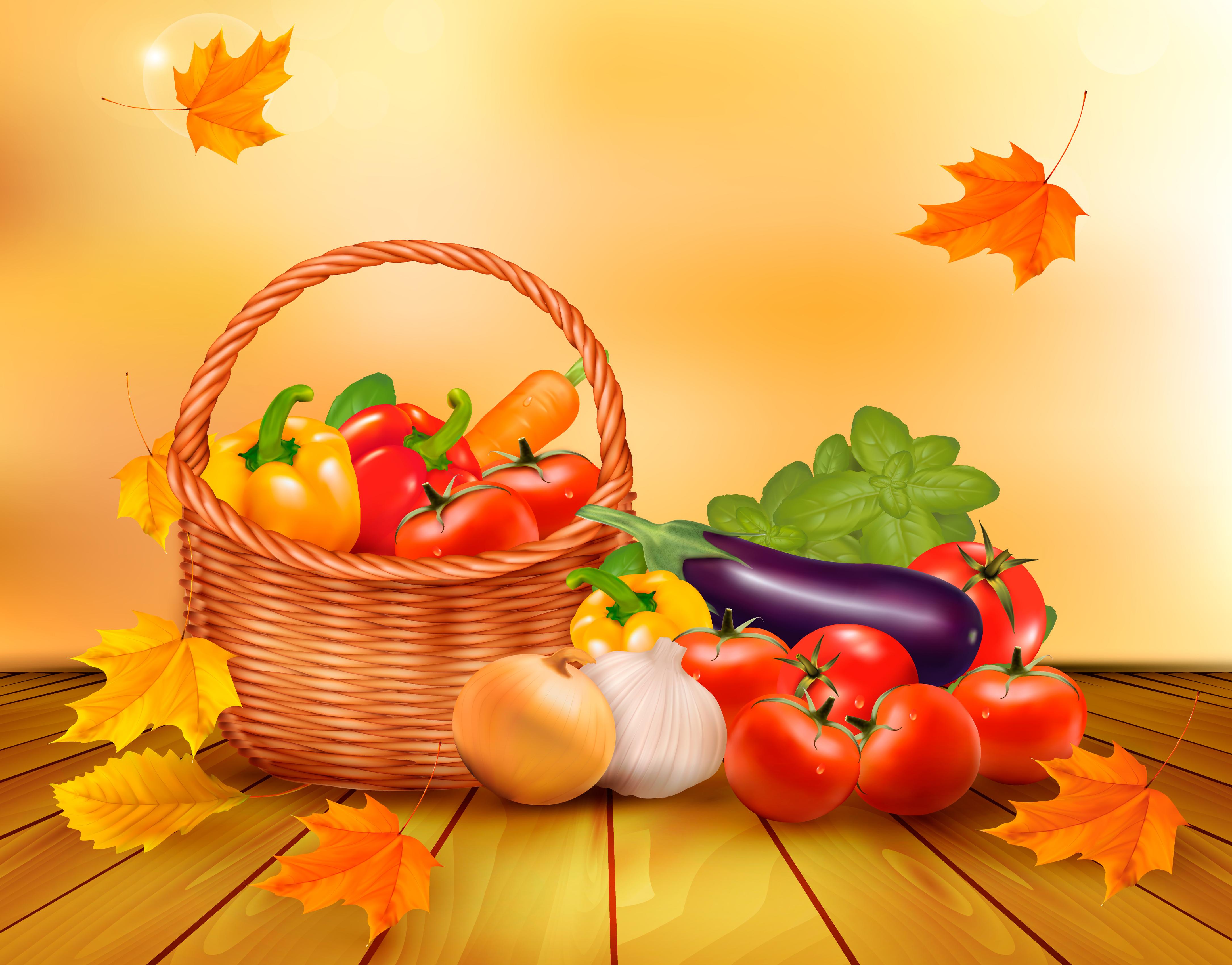 обои на рабочий стол овощи фрукты осень 15488