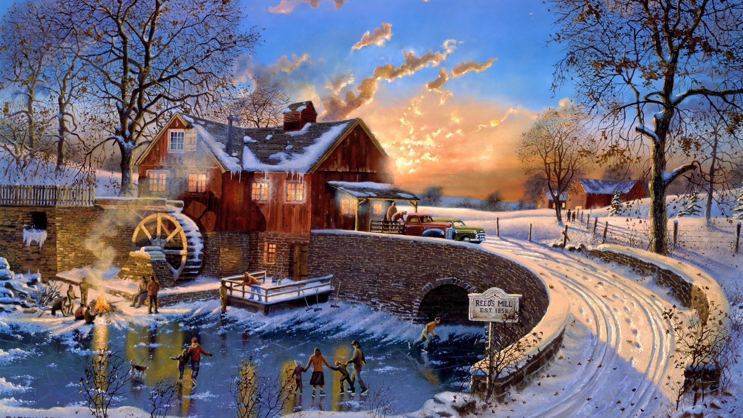 Мельница зимой в освещении без смс