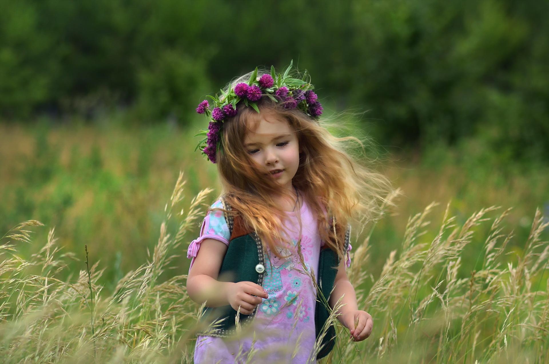 девочка, поле, ромашки, венок, букет без смс