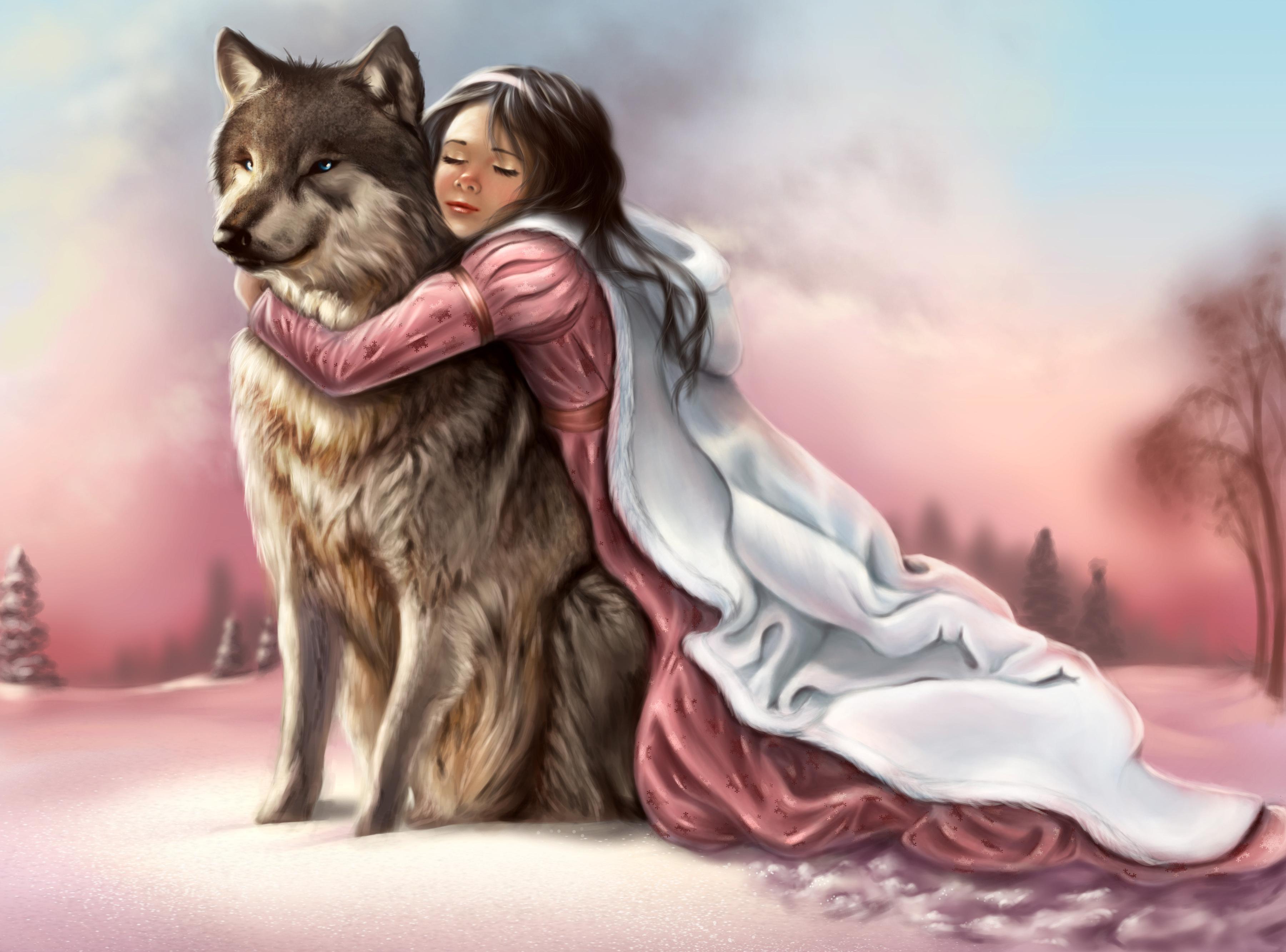 Открытка волк с девушкой