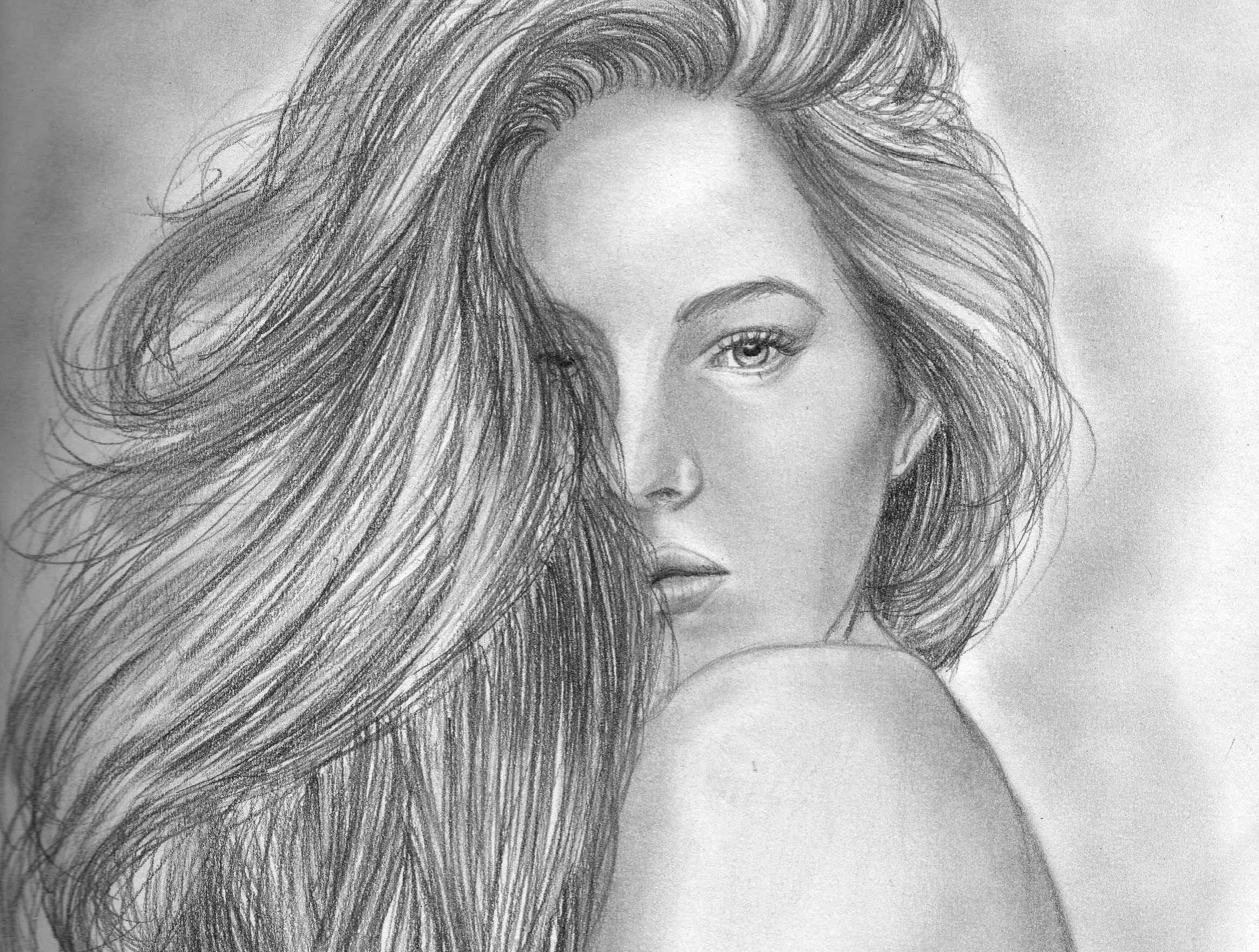 Девушка нарисованная простым карандашом