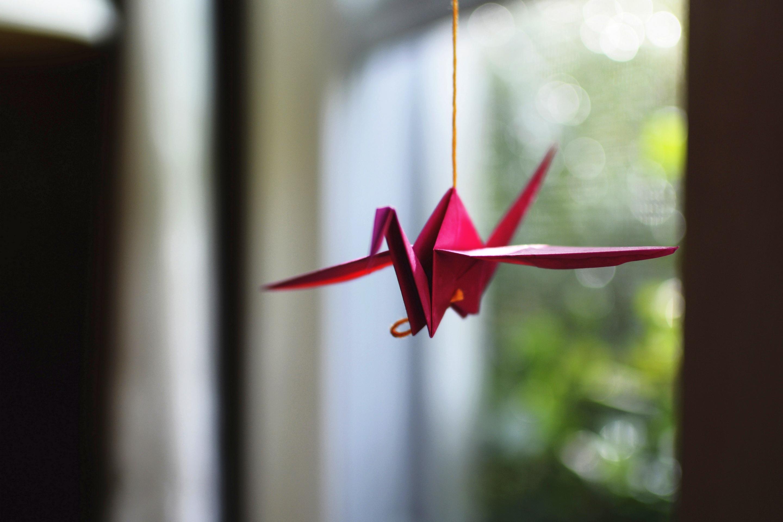 Оригами журавлик открытка, для