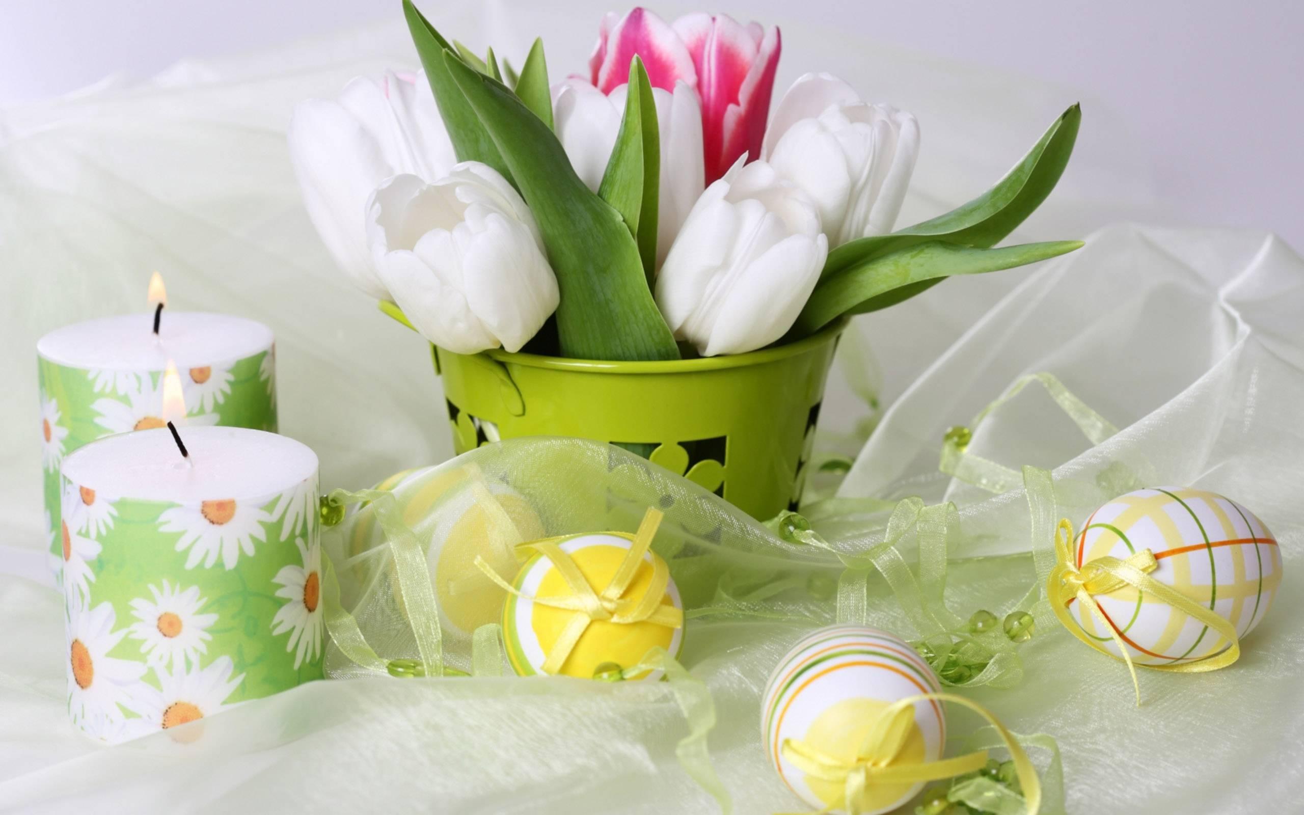 Обои для рабочего стола свечи и цветы