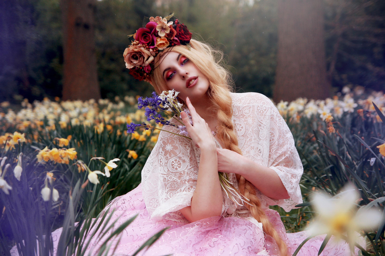 Открытки девушки цветами, открыткой днем рождения