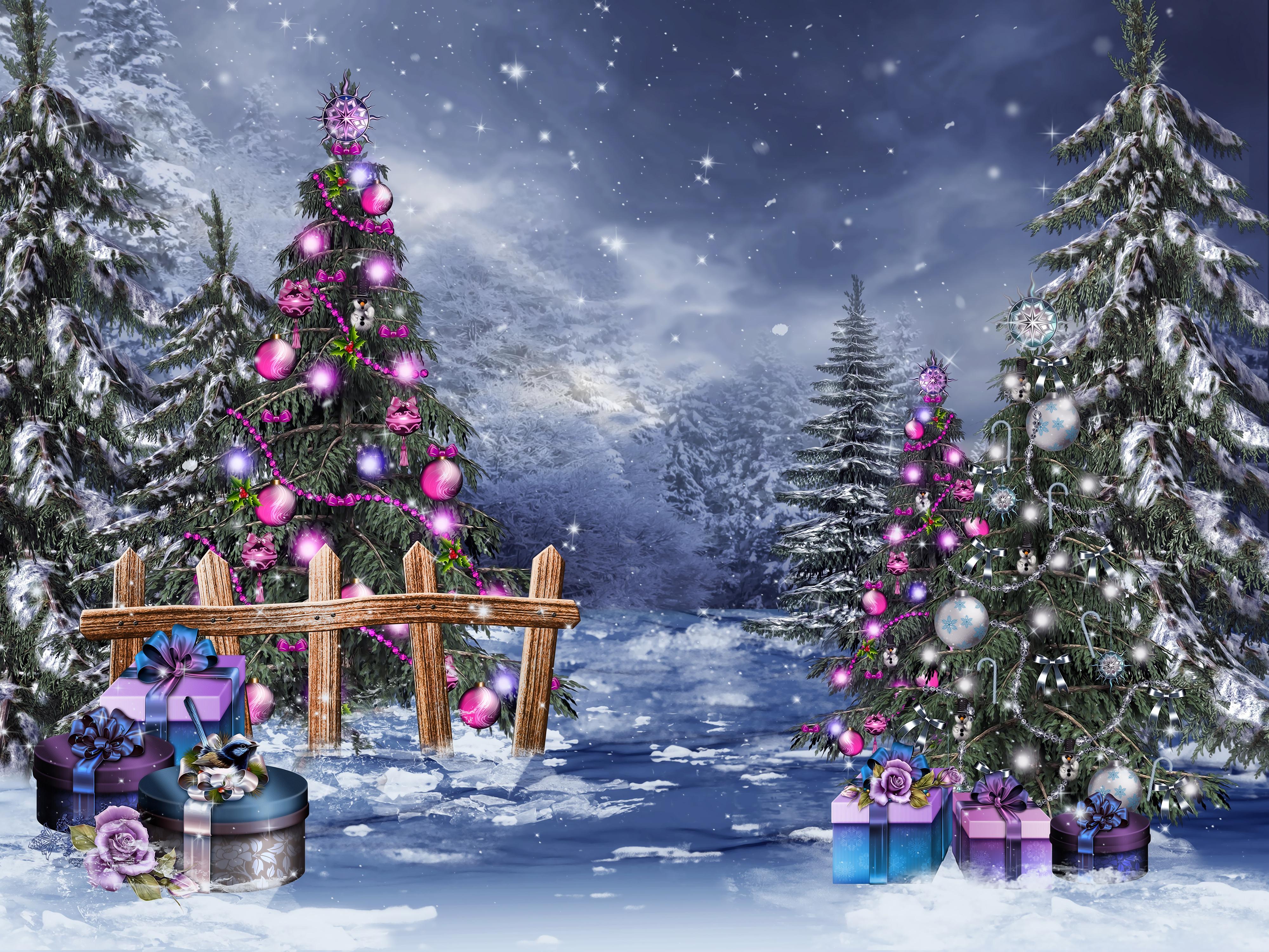 открытки зимний лес с новым годом участок