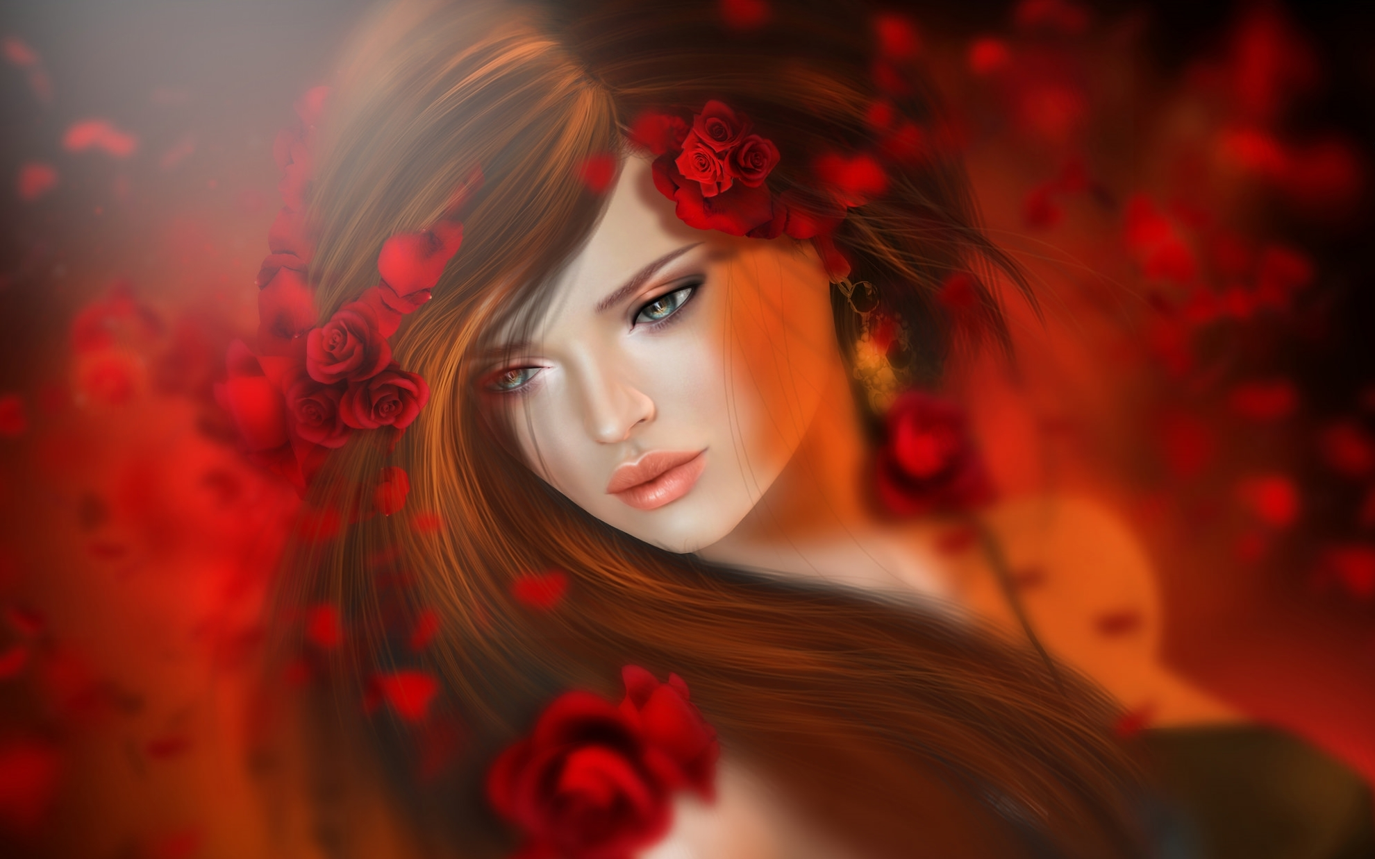 красный цвет девушки цветы фото