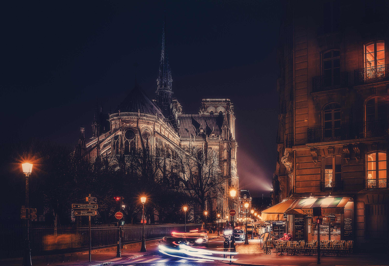 Франция дороги ночь фонари  № 2229273 без смс