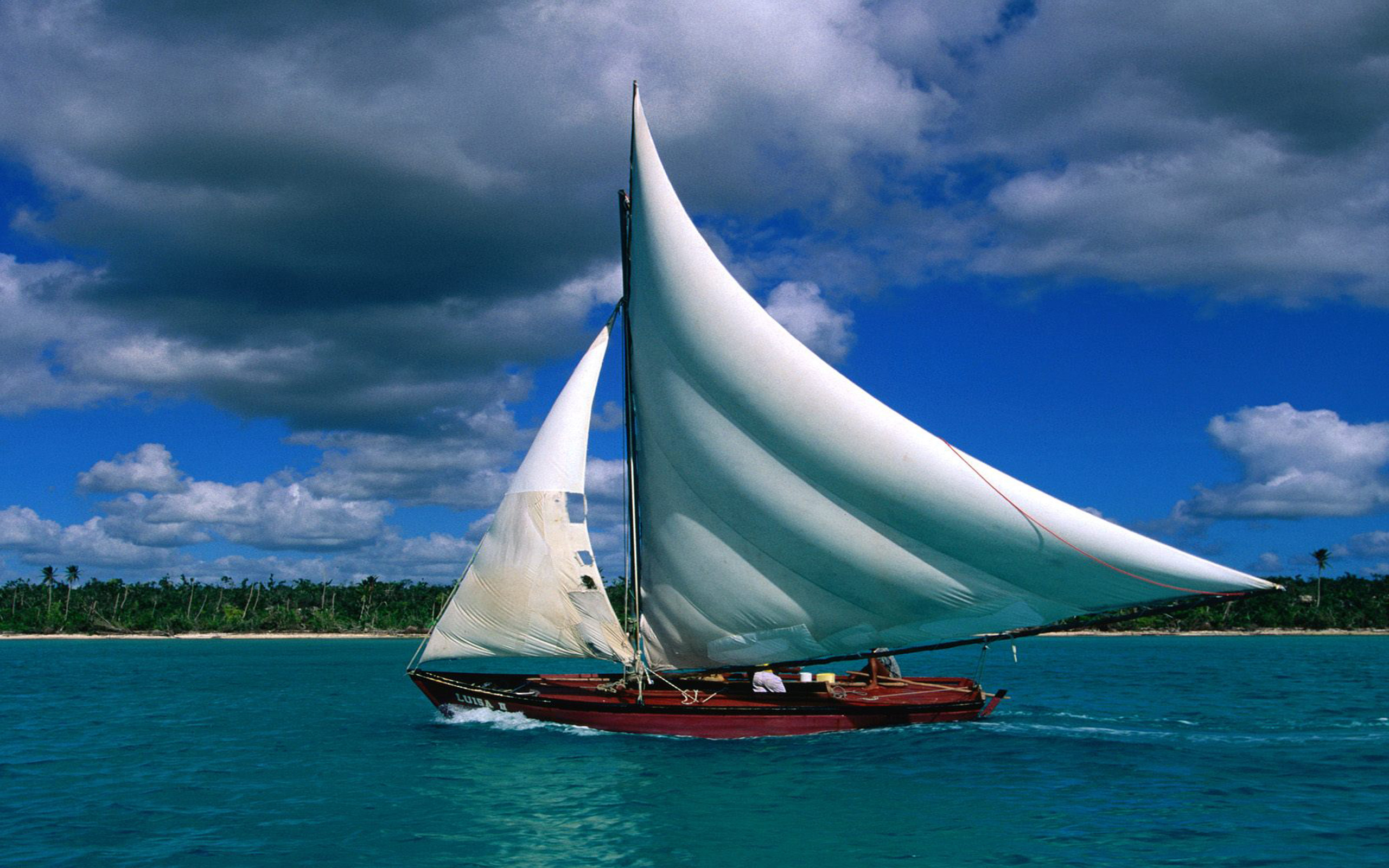 яхта парус море остров  № 3944540 бесплатно