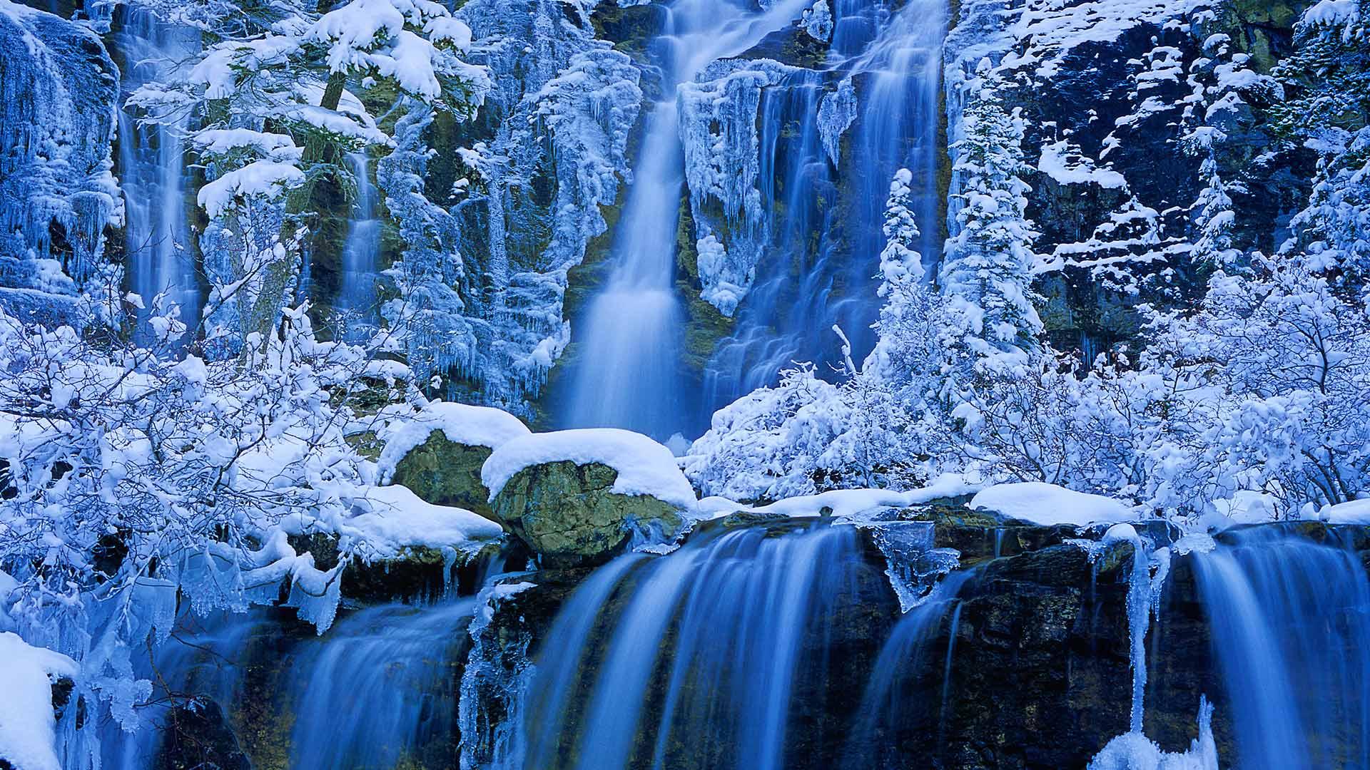 обои для рабочего стола зима водопады № 467106  скачать