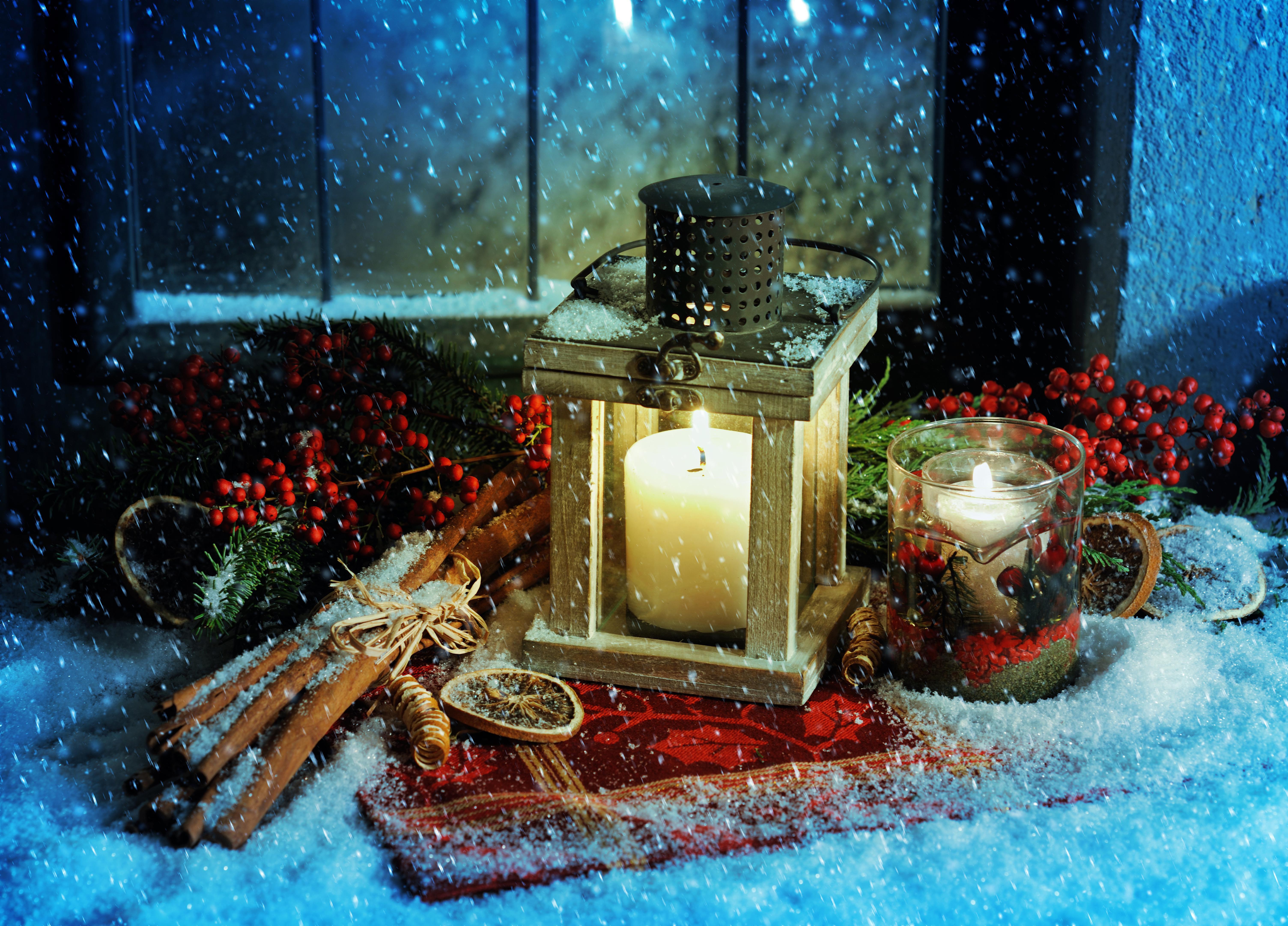 лампа свеча снег рождество lamp candle snow Christmas  № 3982689 бесплатно