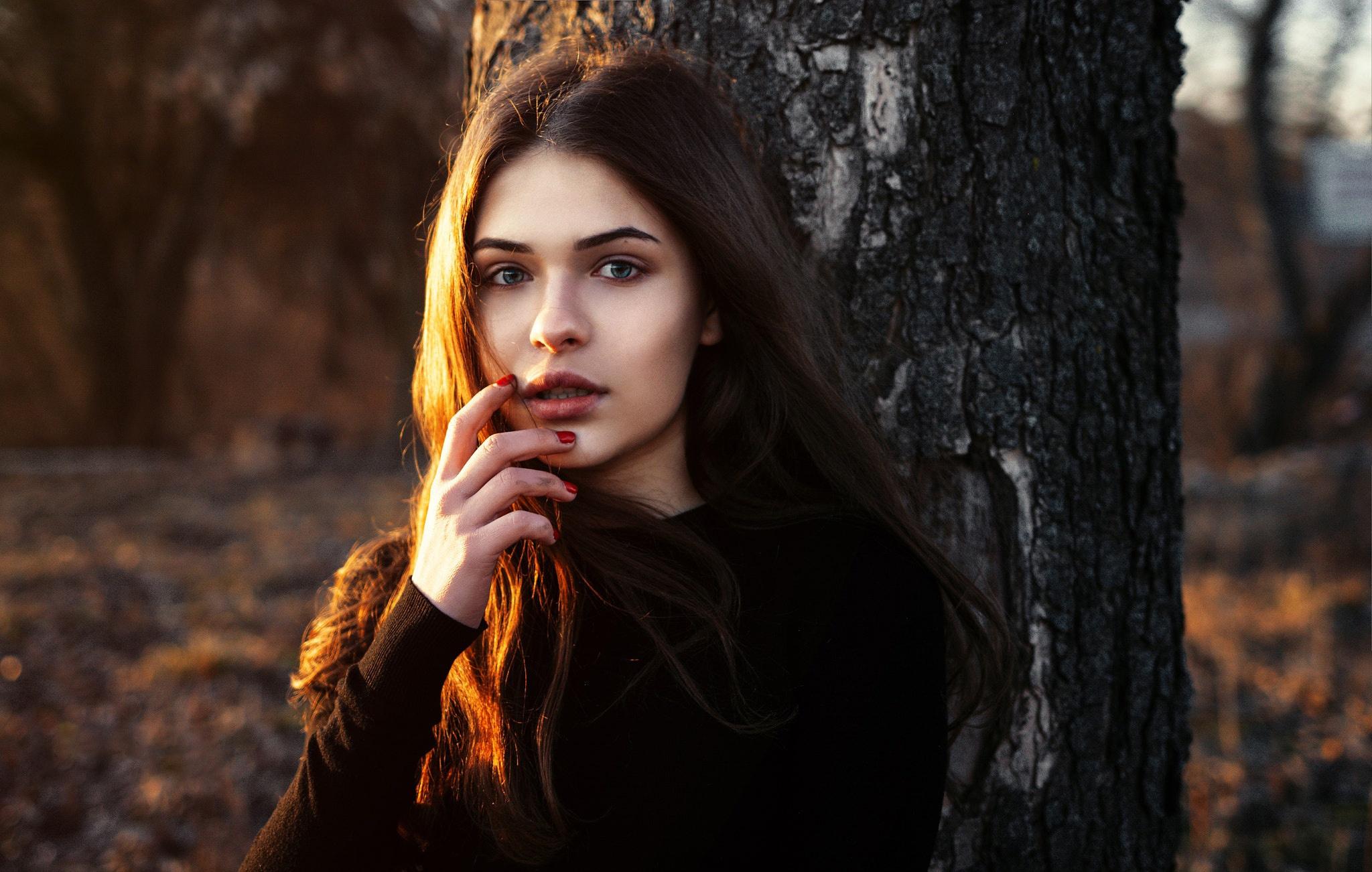 девушка взгляд лицо осень бесплатно