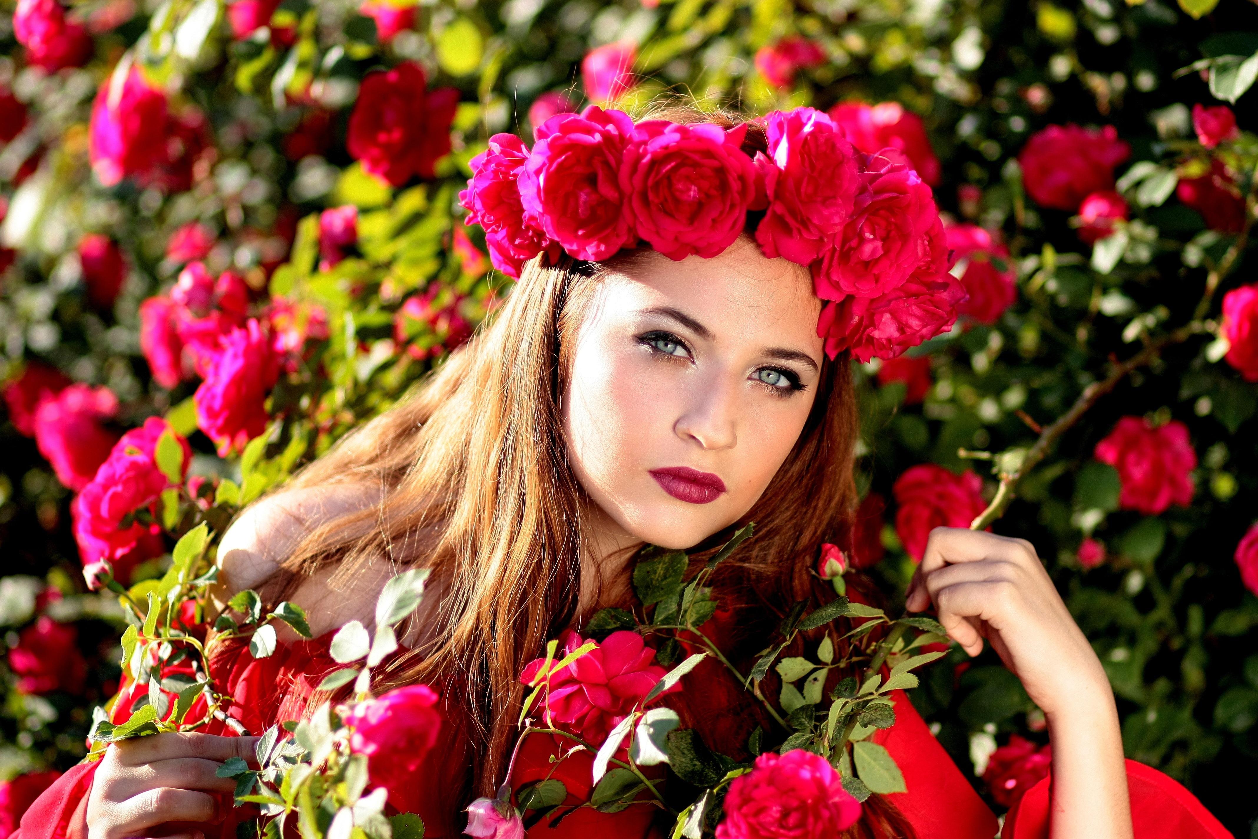 Картинки красивая женщина с цветами, льняная картинки